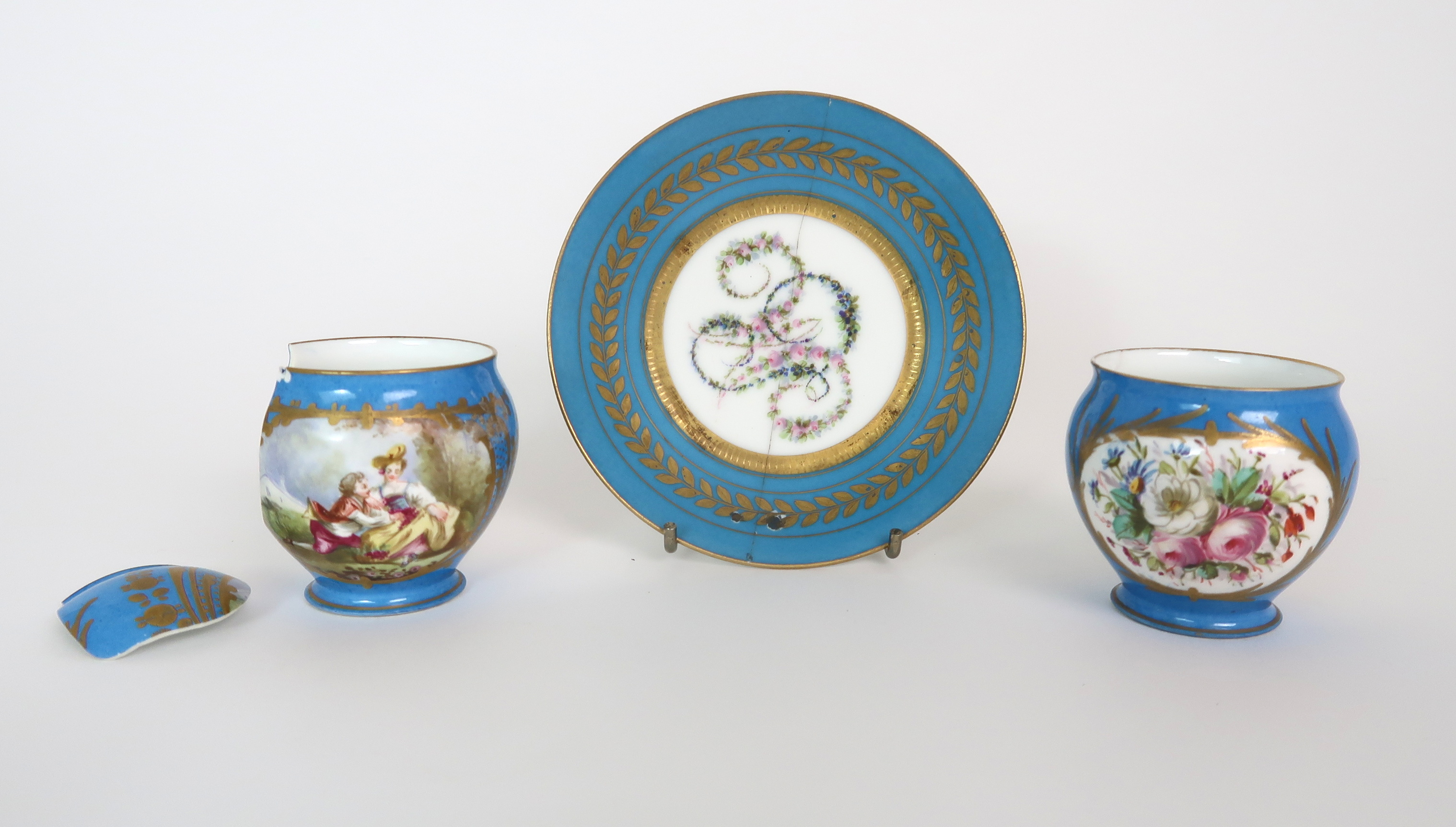 THREE CAPODIMONTE CUPS AND SAUCERS decorated with bacchanalian scenes, a pair of Sevres pots - Image 4 of 16