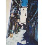 •MAIRI AITKEN (SCOTTISH CONTEMPORARY) SHADES OF GERONA Acrylic on paper, signed, 74 x 54cm (29 x