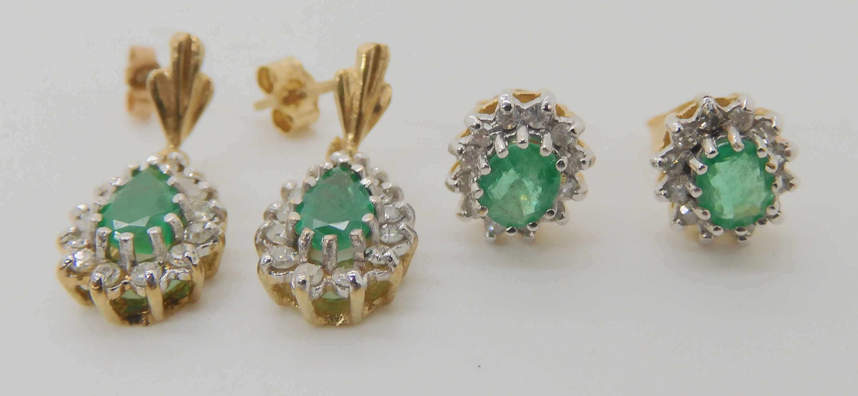 TWO PAIRS OF EMERALD AND DIAMOND EARRINGS pear shaped emerald and diamond drop earrings, set with - Image 2 of 4