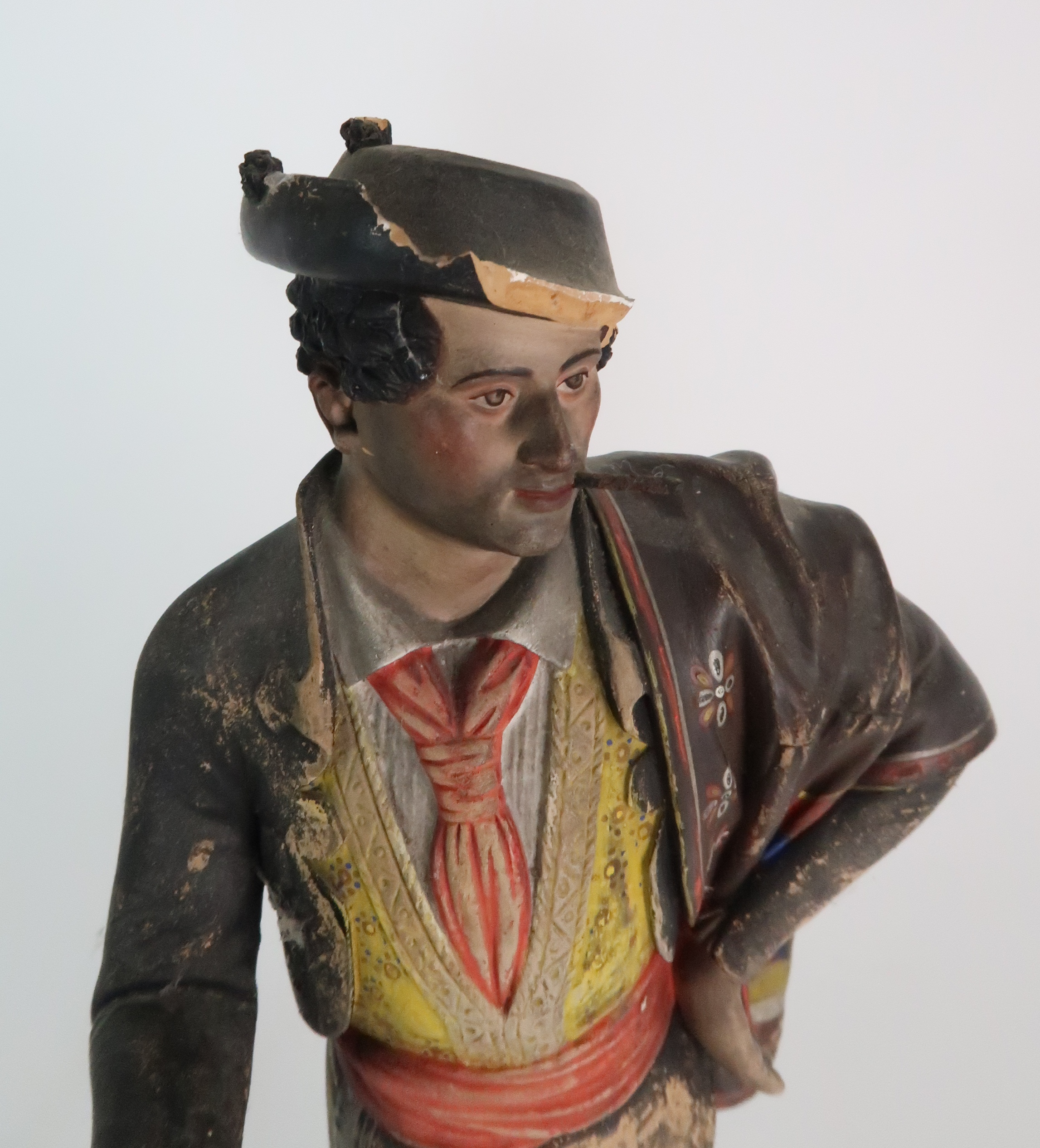 JOSE CUBERO, MALAGA - A PAIR OF MID 19TH CENTURY COLD PAINTED TERRACOTTA FIGURES one a matador, - Image 6 of 8