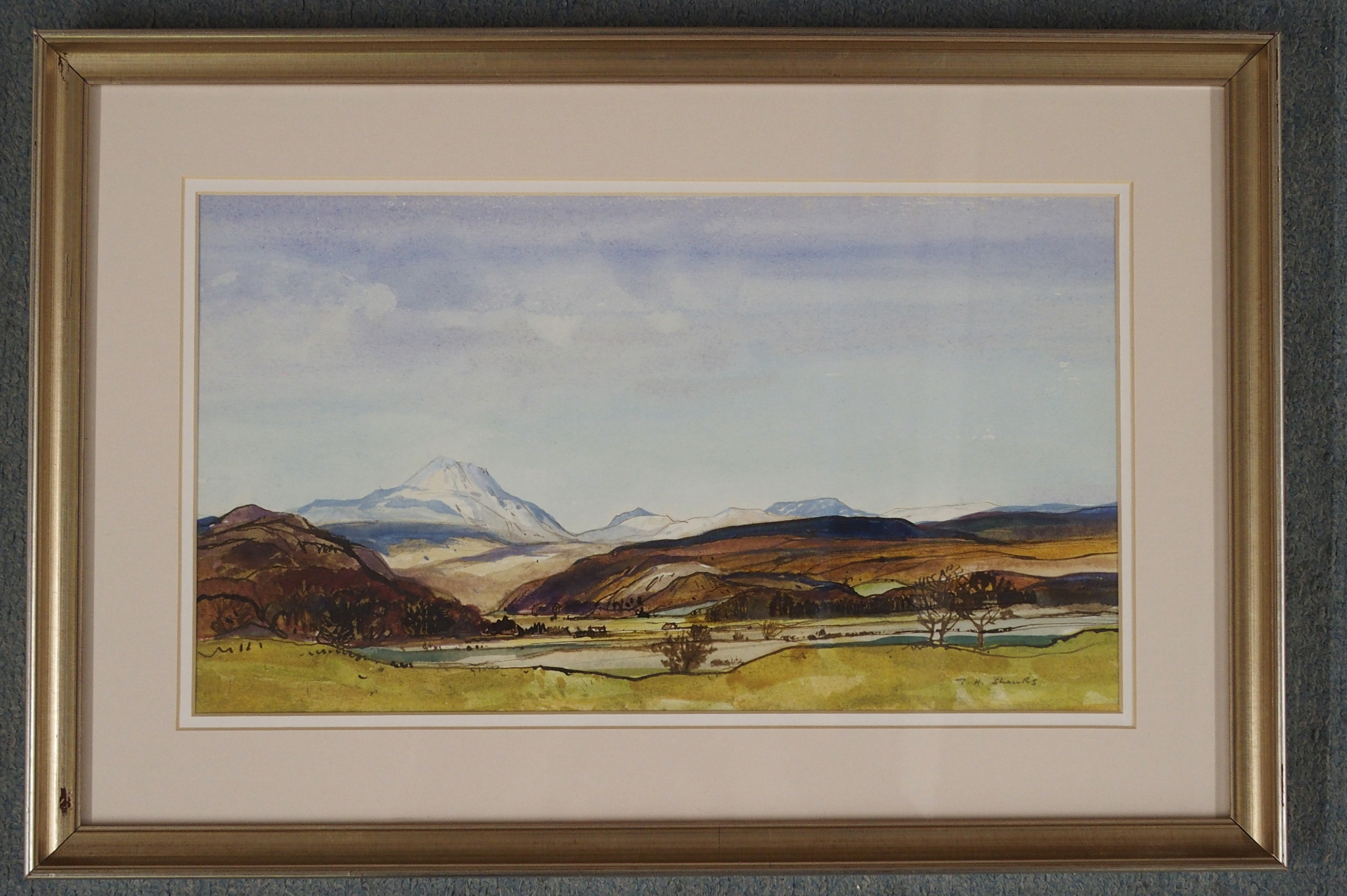 •TOM H SHANKS RSW, RGI (1921-1920) NEAR BALFRON Watercolour on paper, signed, 20 x 35cm (8 x 13 3/ - Image 2 of 4