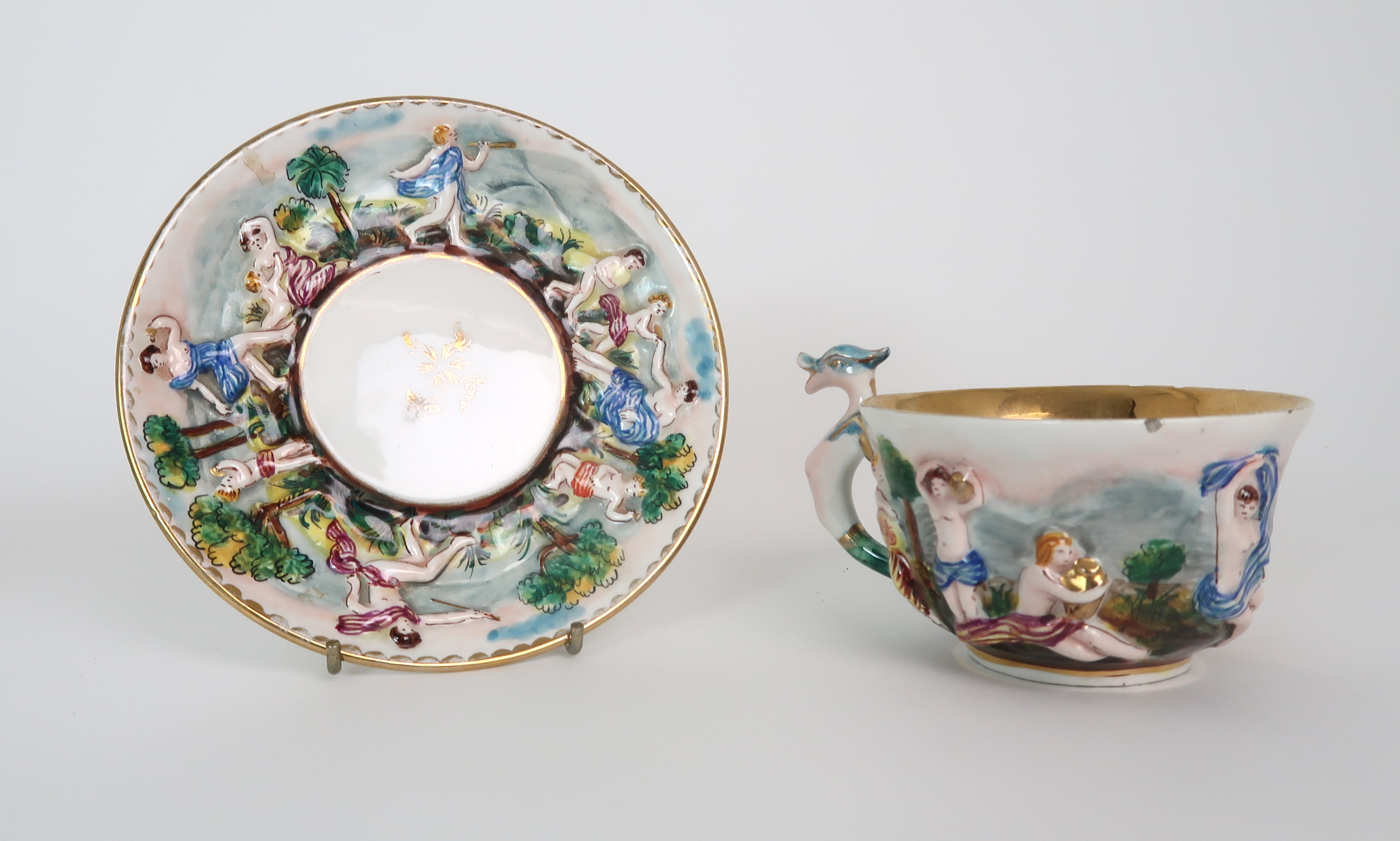 THREE CAPODIMONTE CUPS AND SAUCERS decorated with bacchanalian scenes, a pair of Sevres pots - Image 15 of 16