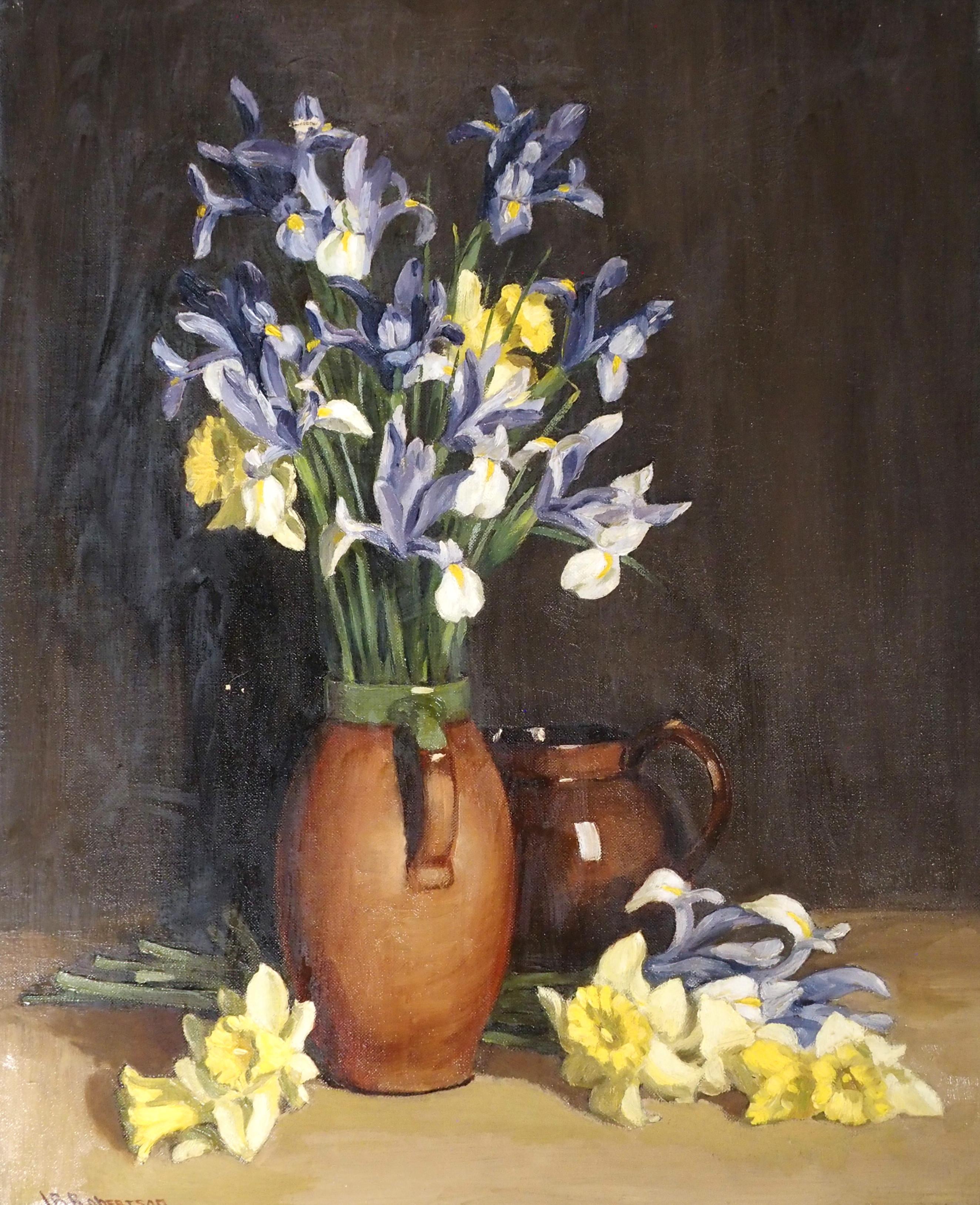 JOHN BURNS ROBERTSON (SCOTTISH FL. 1920-1944) STILL LIFE WITH IRISES AND DAFFODILS Oil on canvas,