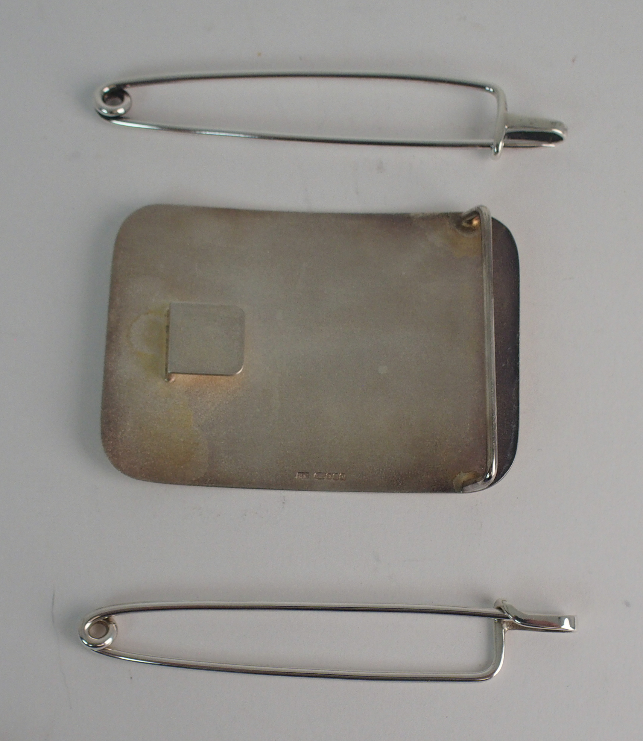 A HAMILTON & INCHES SILVER BELT BUCKLE and two Hamilton & Inches silver kilt pins (3) Condition - Image 2 of 3