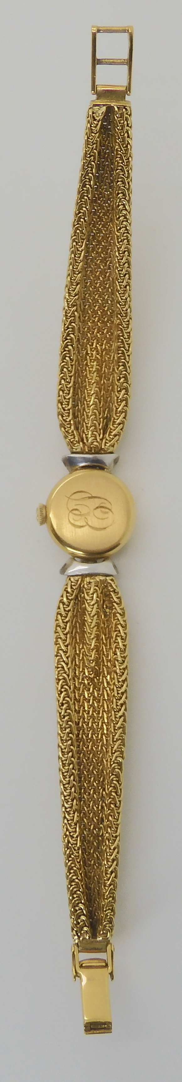 A LADIES 18CT GOLD OMEGA WITH DIAMONDS AND DECORATIVE STRAP the woven mesh strap in puckered to look - Image 4 of 5