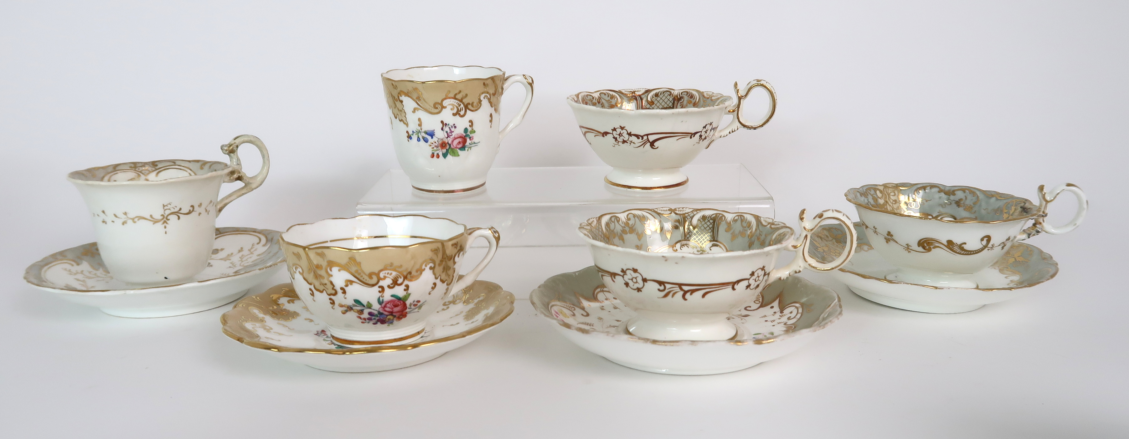 A COLLECTION OF 19TH CENTURY ENGLISH TEA AND COFFEE WARES the white ground with either grey and gilt - Image 16 of 22