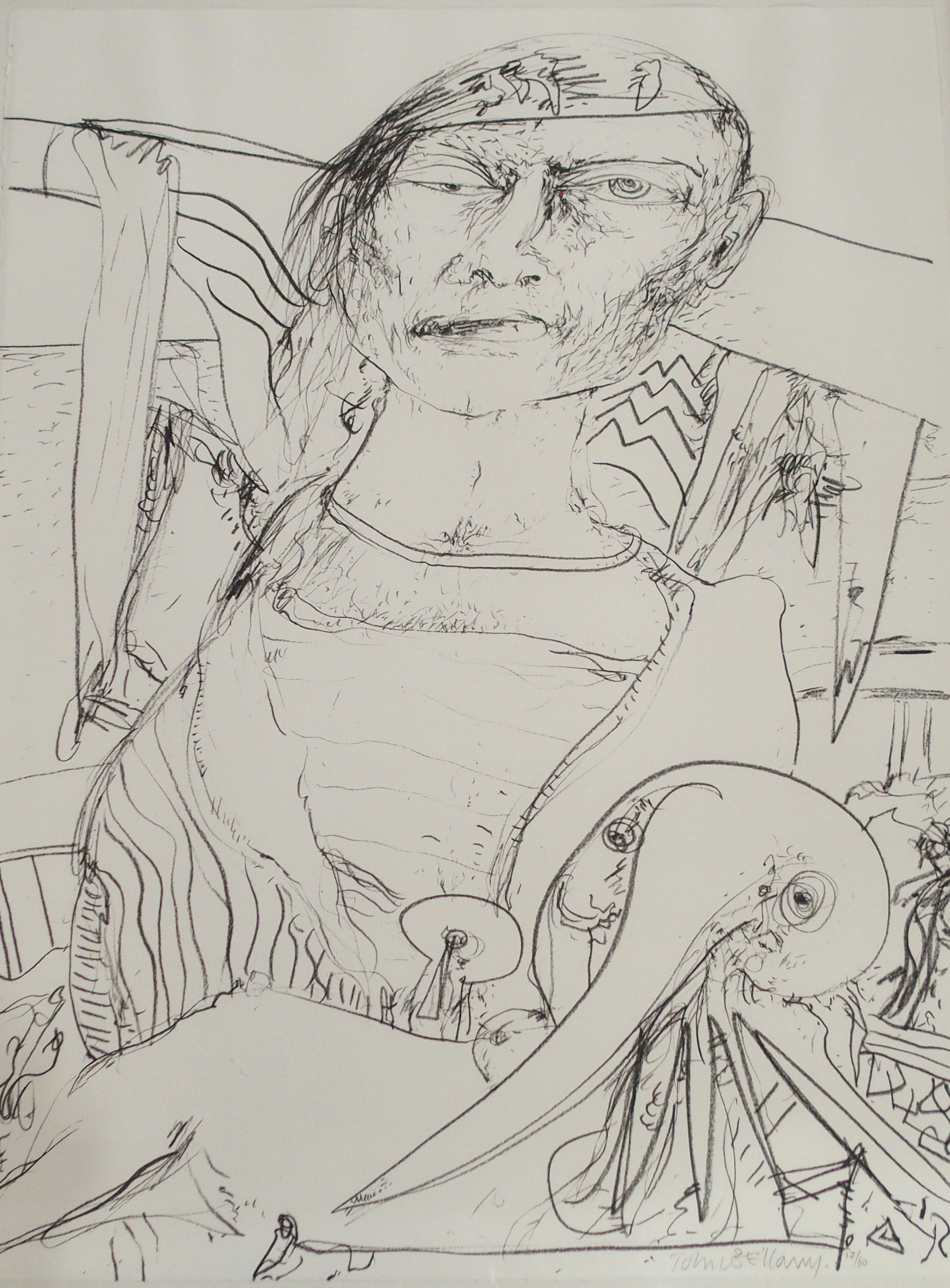 •JOHN BELLANY CBE, RA, HRSA, LLD (LON) (SCOTTISH 1942-2013) OLD MAN AND THE SEA Lithograph on paper,