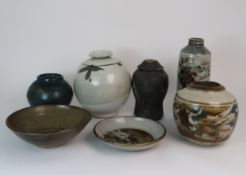 GEORGE SHANKS (1940-2000) - A COLLECTION OF STUDIO POTTERY including a glazed tall vase, 33cm
