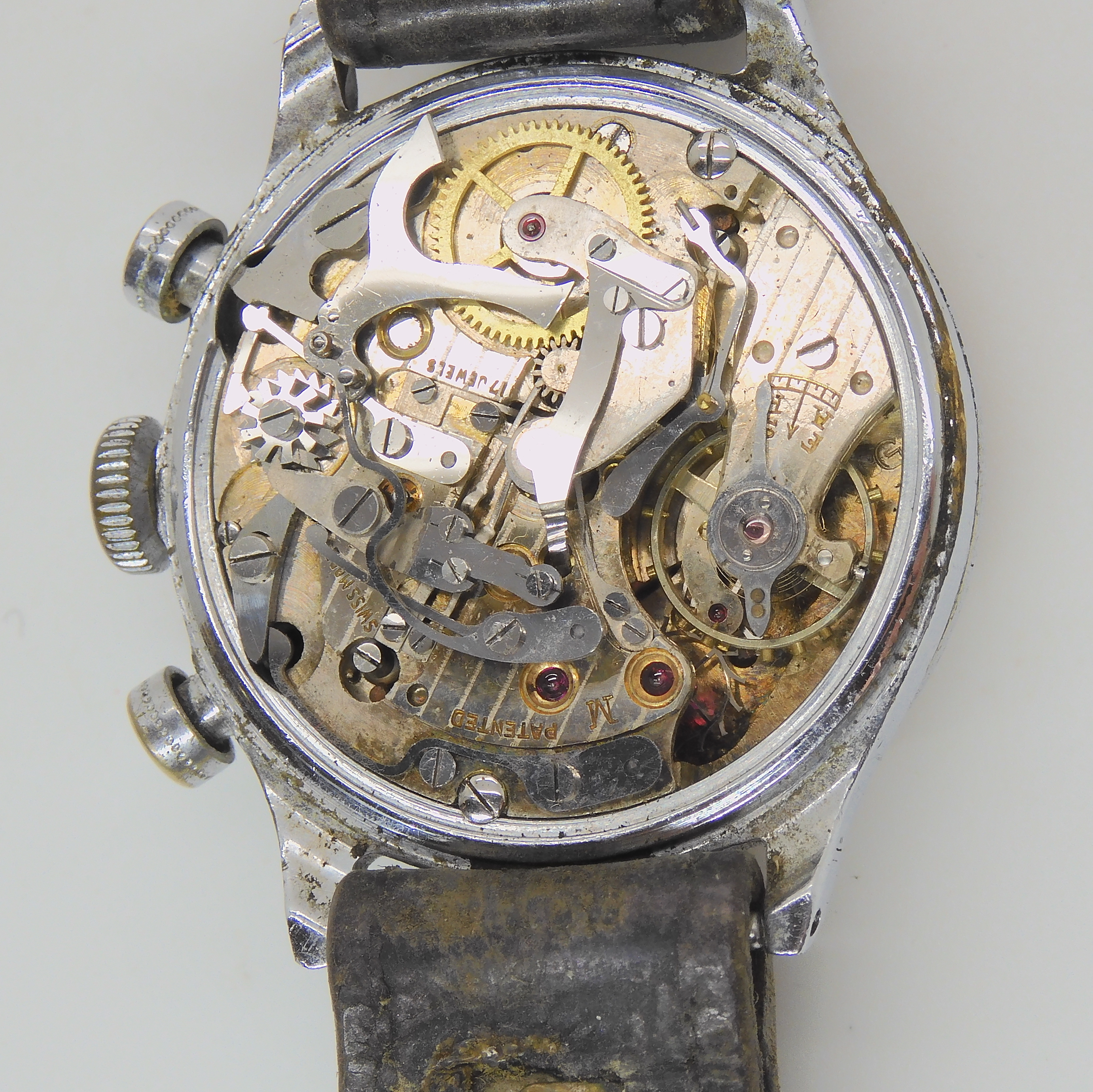 TWO MILITARY WATCHES a base metal Waltham pocket watch with a black dial subsidiary seconds dial and - Image 3 of 5