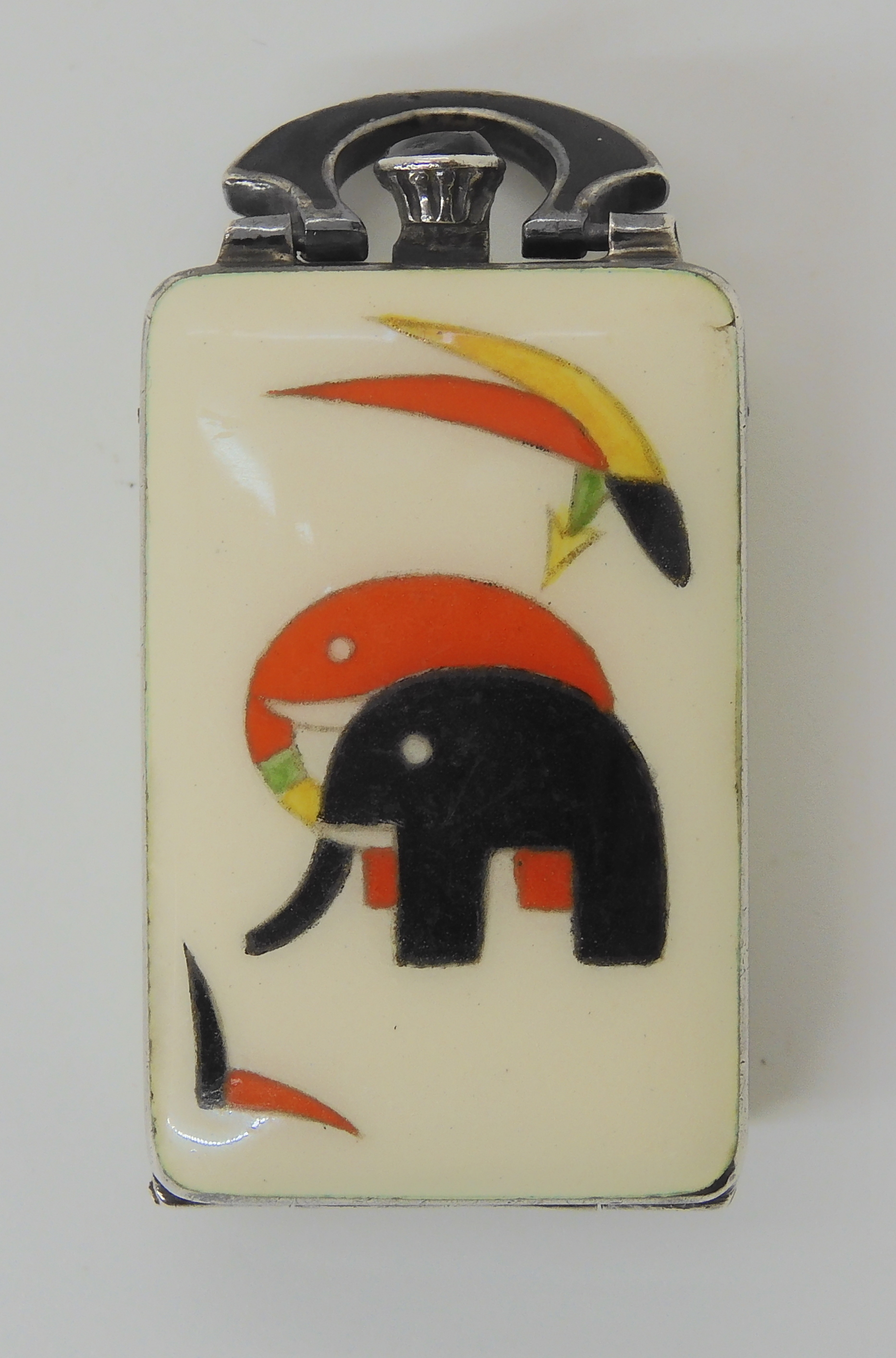 AN ART DECO ENAMELLED ELEPHANT PENDANT WATCH the dial signed 'Deco Styl' and the case stamped - Image 2 of 10