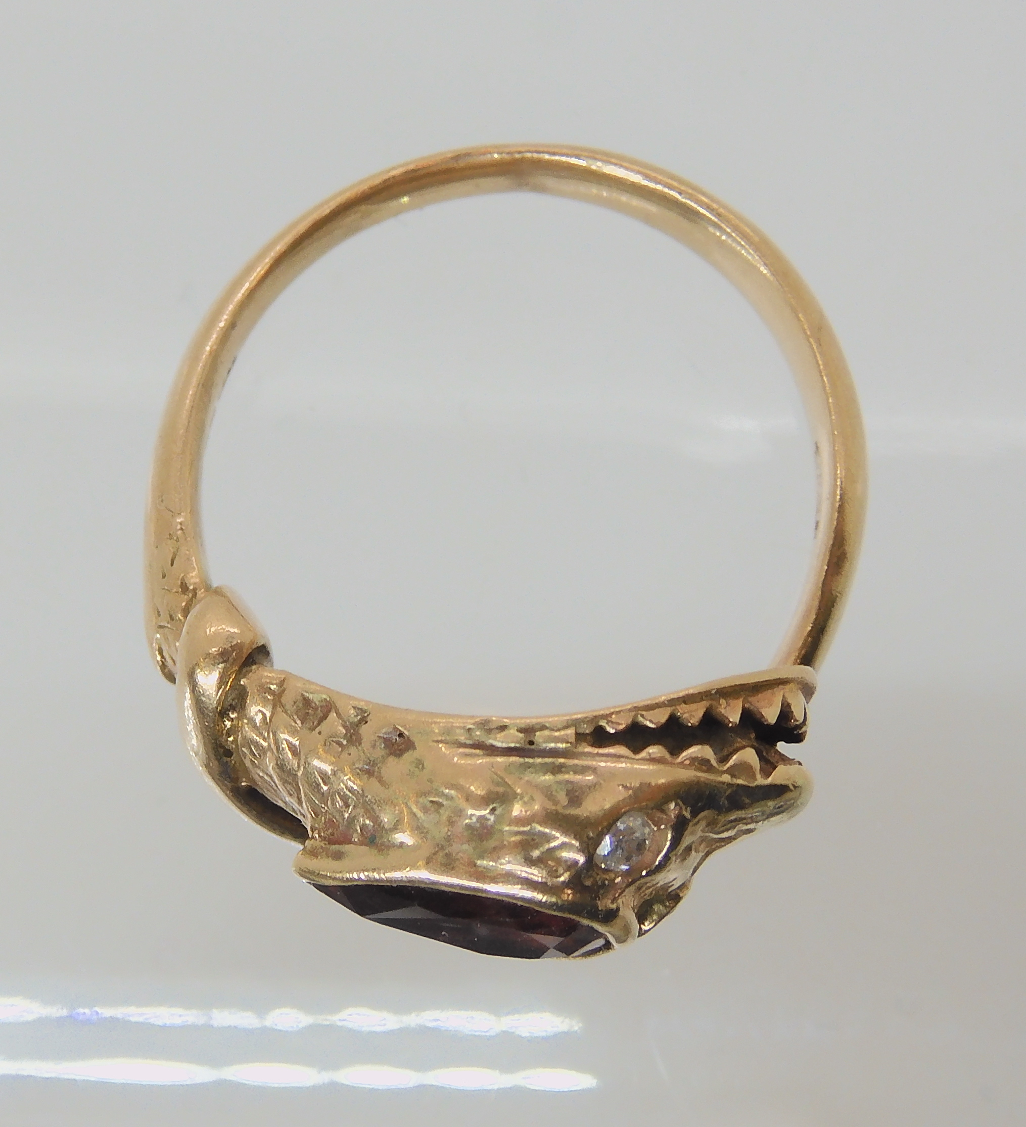 A 9CT ROSE GOLD GARNET AND DIAMOND SNAKE RING finger size J, weight 4.5gms Condition Report: Has - Image 2 of 8