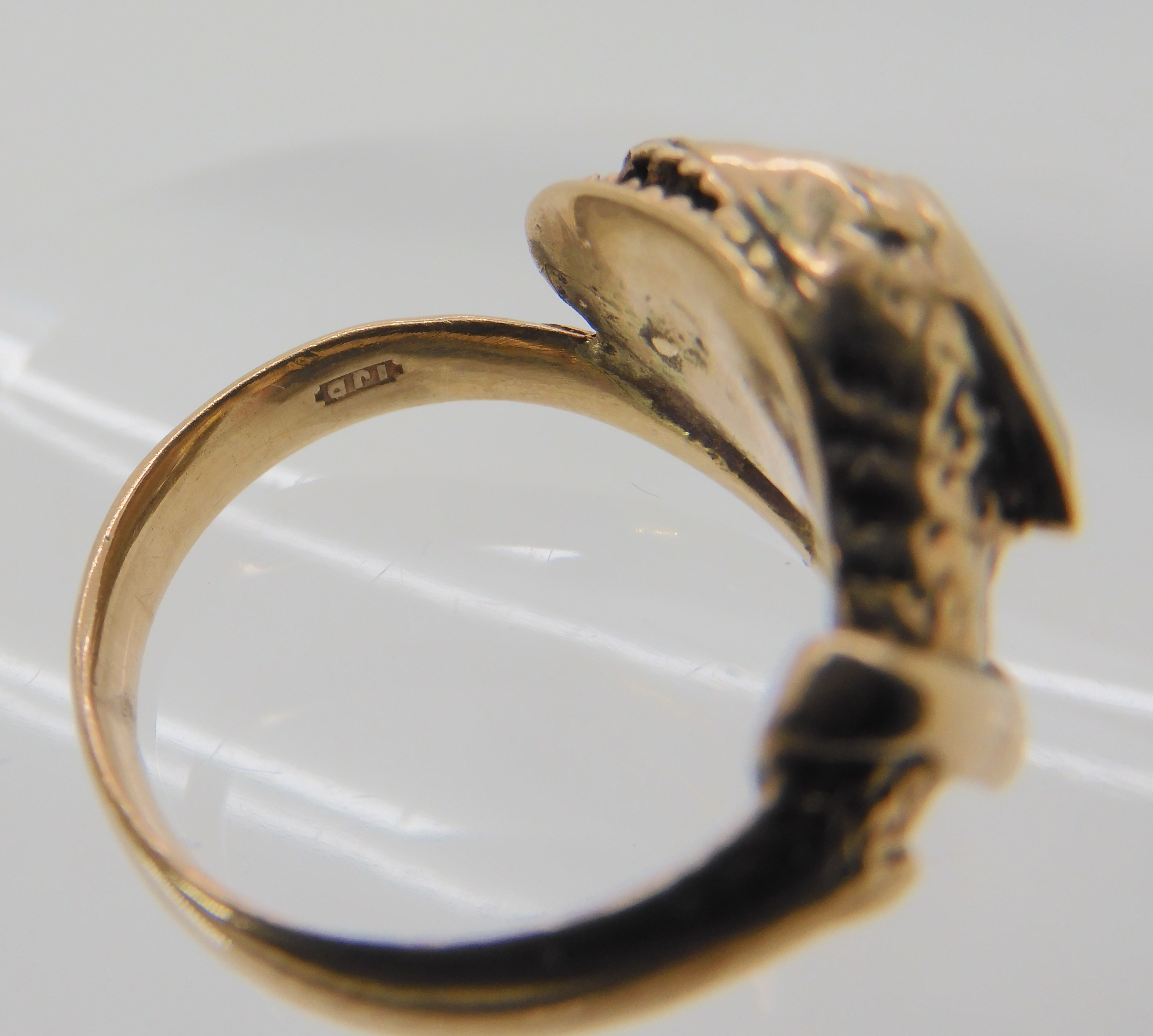A 9CT ROSE GOLD GARNET AND DIAMOND SNAKE RING finger size J, weight 4.5gms Condition Report: Has - Image 7 of 8