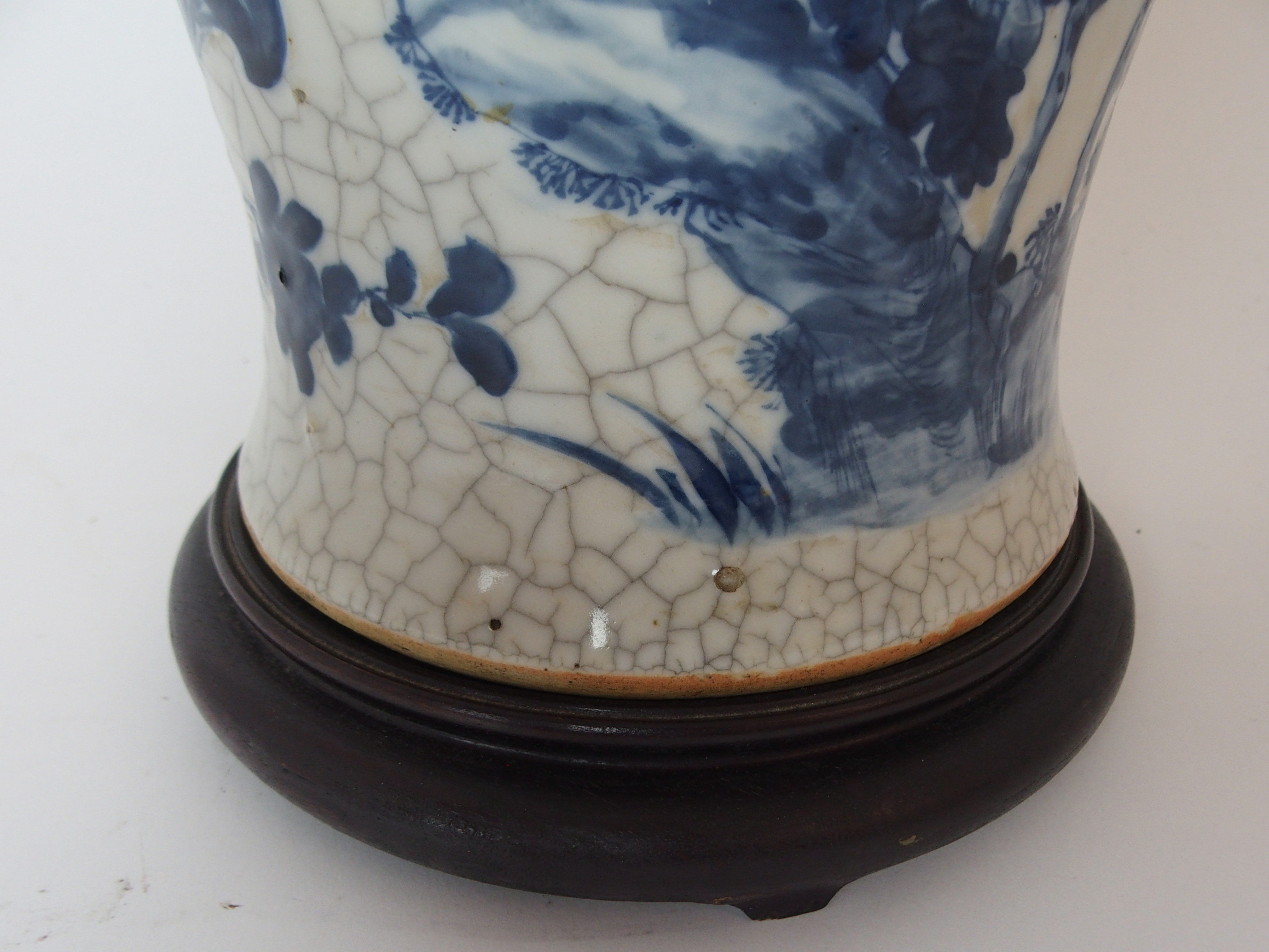 A LARGE CHINESE BLUE AND WHITE MOULDED VASE painted with birds and bats amongst peonies - Image 6 of 11