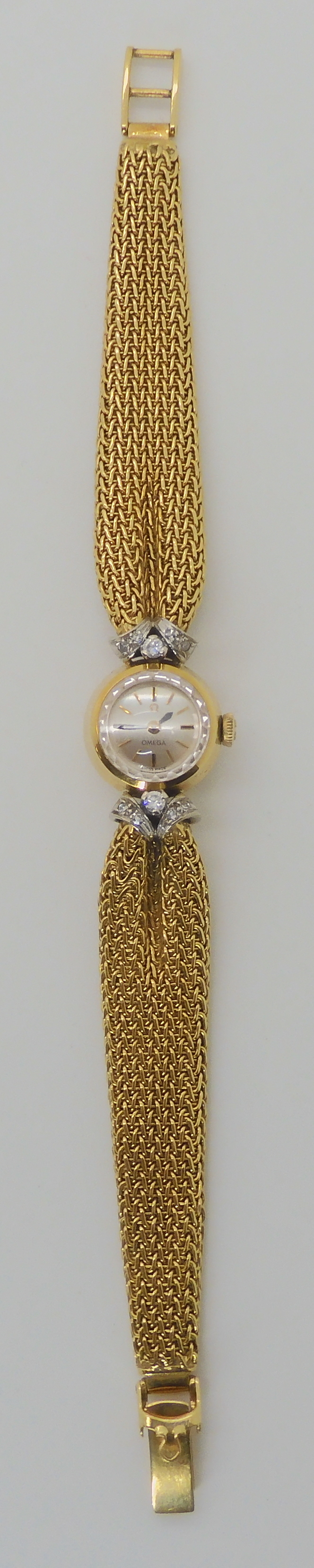 A LADIES 18CT GOLD OMEGA WITH DIAMONDS AND DECORATIVE STRAP the woven mesh strap in puckered to look - Image 3 of 5