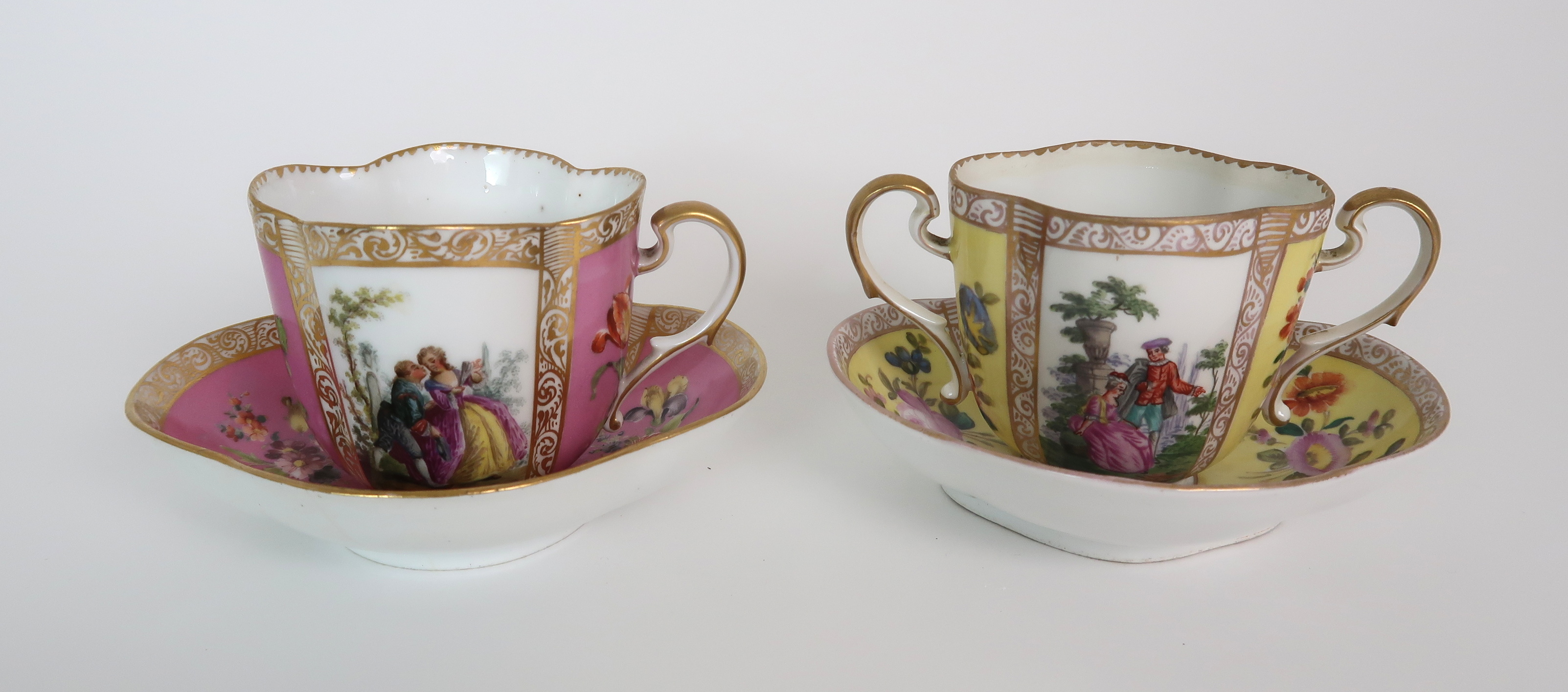 THREE CAPODIMONTE CUPS AND SAUCERS decorated with bacchanalian scenes, a pair of Sevres pots - Image 7 of 16