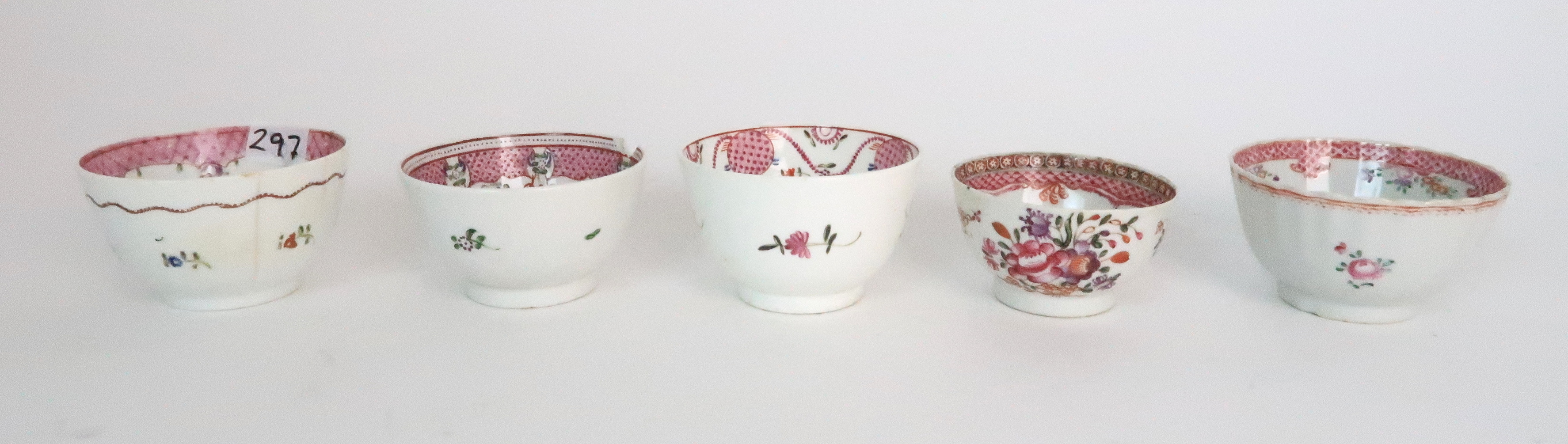 A COLLECTION OF TEA BOWLS AND SAUCERS each with pink scale and floral decoration including New Hall; - Image 7 of 12