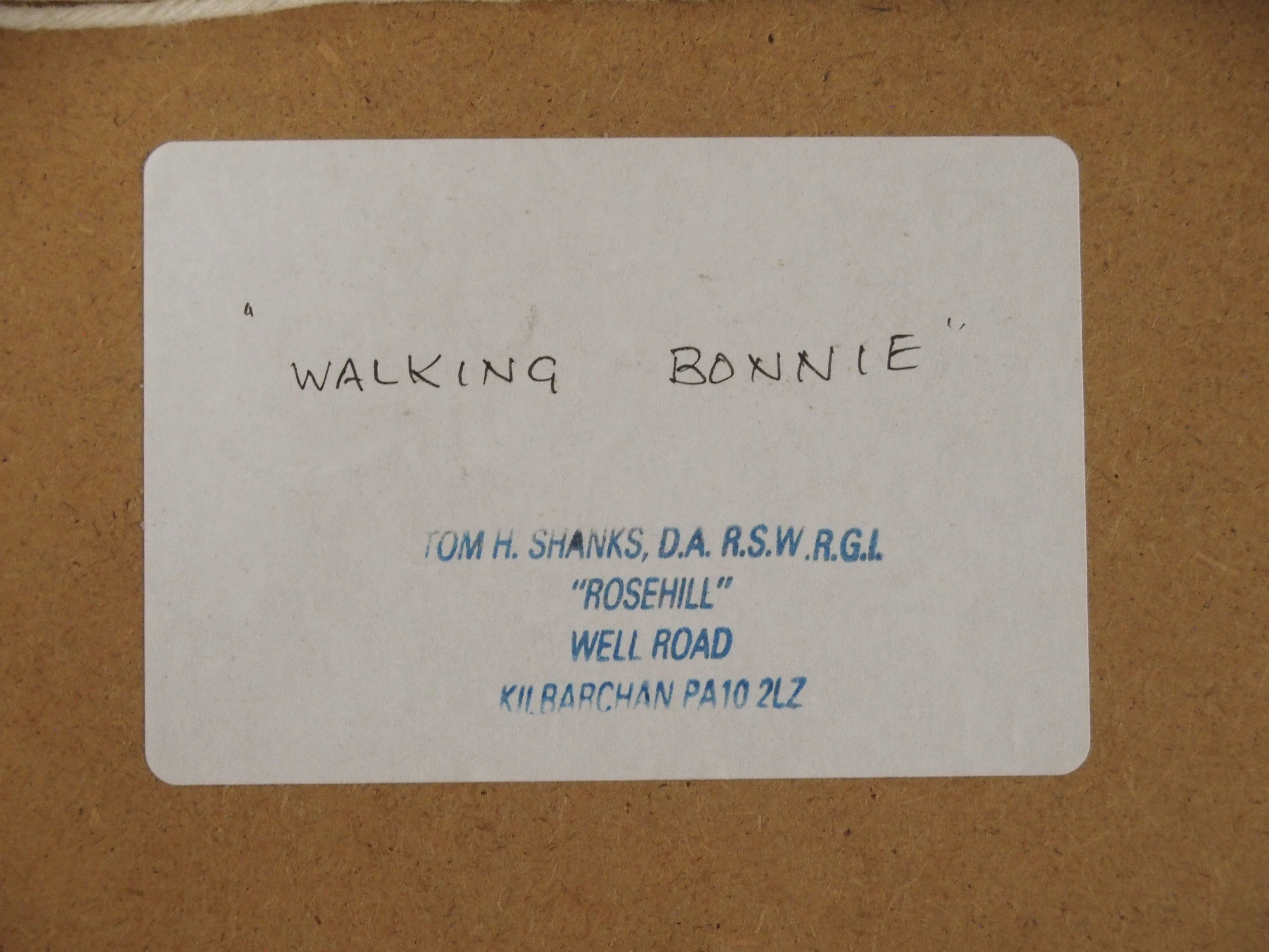 •TOM H SHANKS RSW, RGI (SCOTTISH 1921-2020) WALKING BONNIE Oil on board, signed with initials, 18 - Image 5 of 5