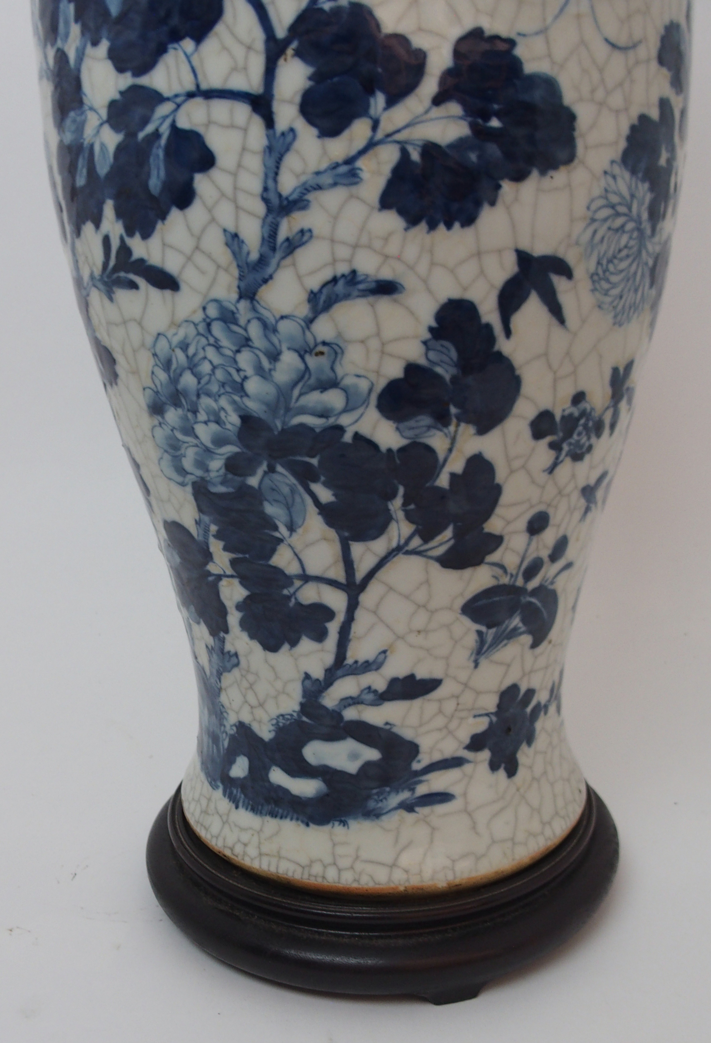 A LARGE CHINESE BLUE AND WHITE MOULDED VASE painted with birds and bats amongst peonies - Image 9 of 11