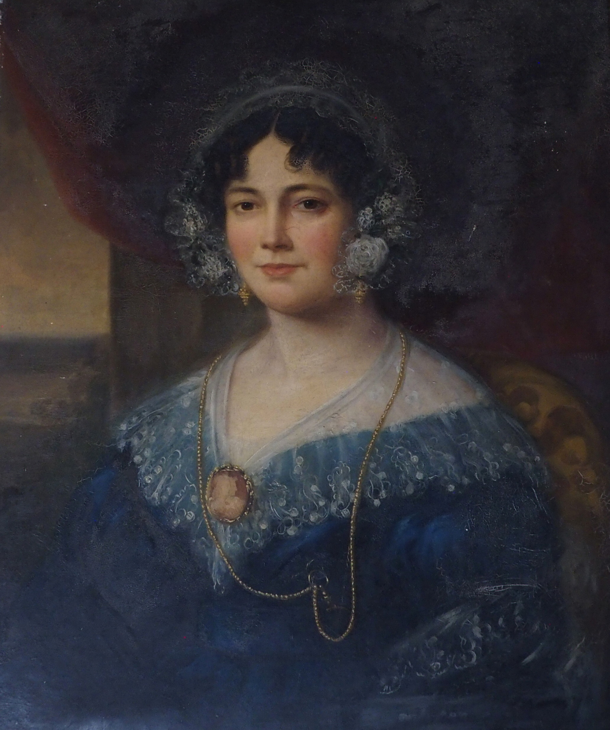 BRITISH SCHOOL (19TH CENTURY) PORTRAIT OF A LADY IN A BLUE DRESS AND LACE CAP Oil on canvas, 76 x