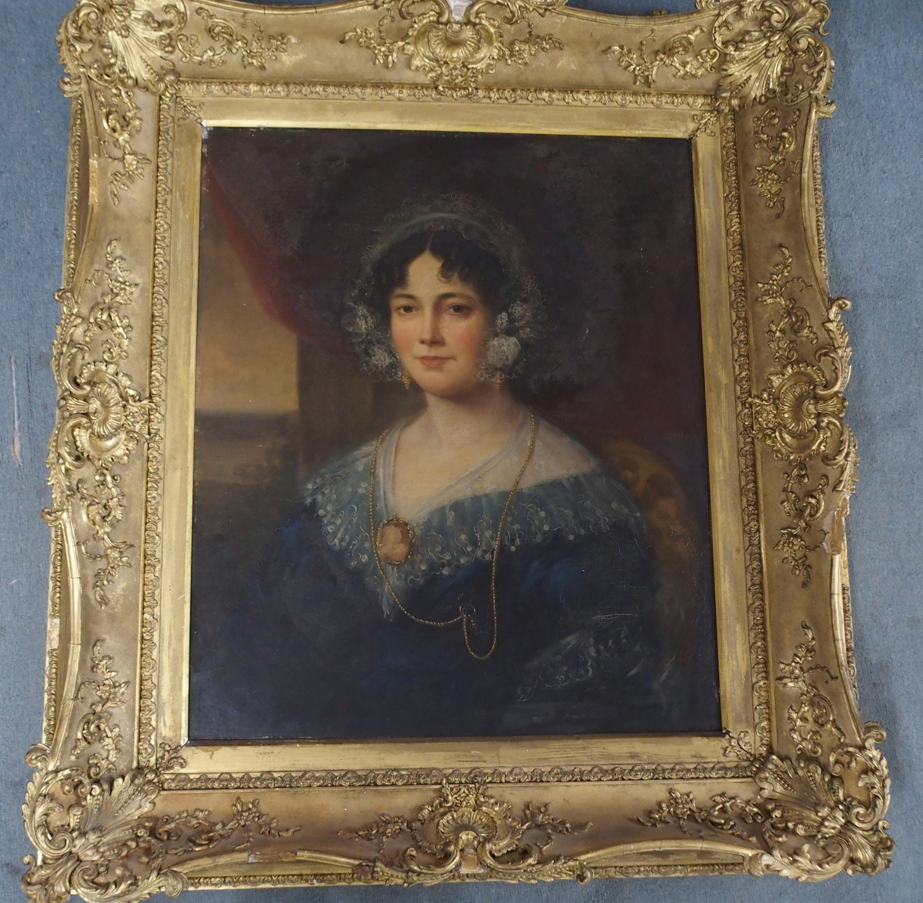 BRITISH SCHOOL (19TH CENTURY) PORTRAIT OF A LADY IN A BLUE DRESS AND LACE CAP Oil on canvas, 76 x - Image 4 of 5