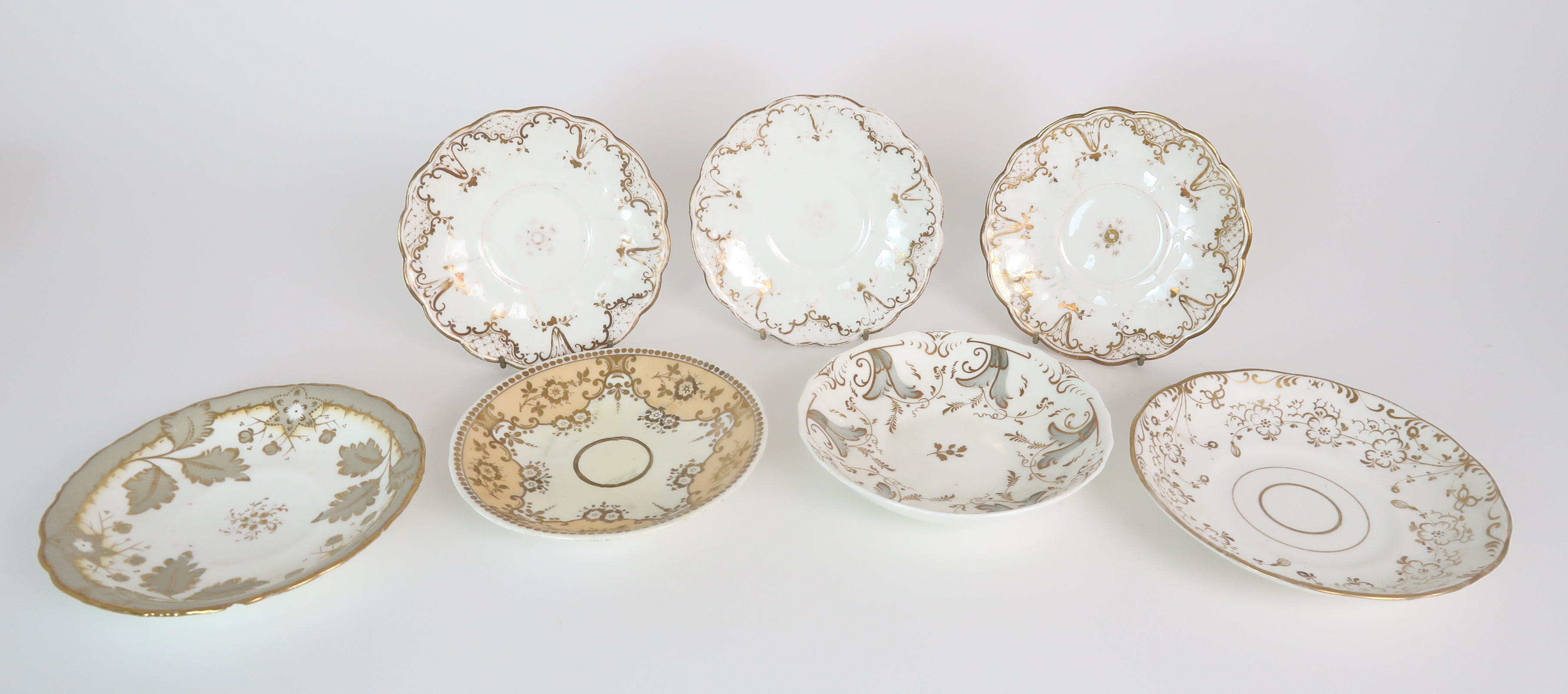 A COLLECTION OF 19TH CENTURY ENGLISH TEA AND COFFEE WARES the white ground with either grey and gilt - Image 22 of 22