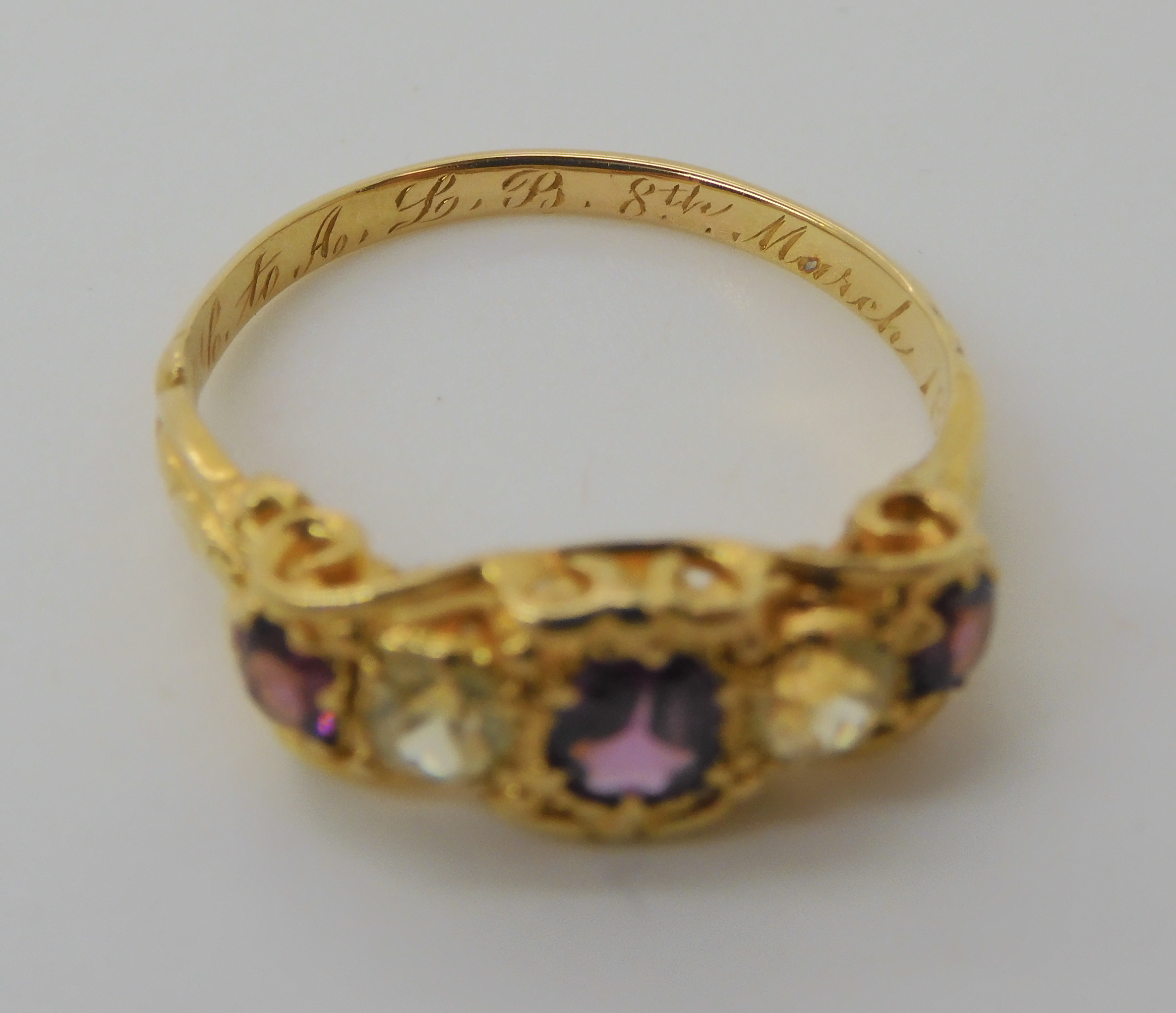 A VICTORIAN GEM SET RING inscribed and dated 1861, set with garnets and pale green gems, finger size - Image 6 of 7