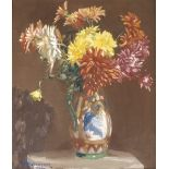 JOHN BURNS ROBERTSON (SCOTTISH FL. 1920-1944) DAHLIAS IN AN ORIENTAL VASE Oil on canvas, signed