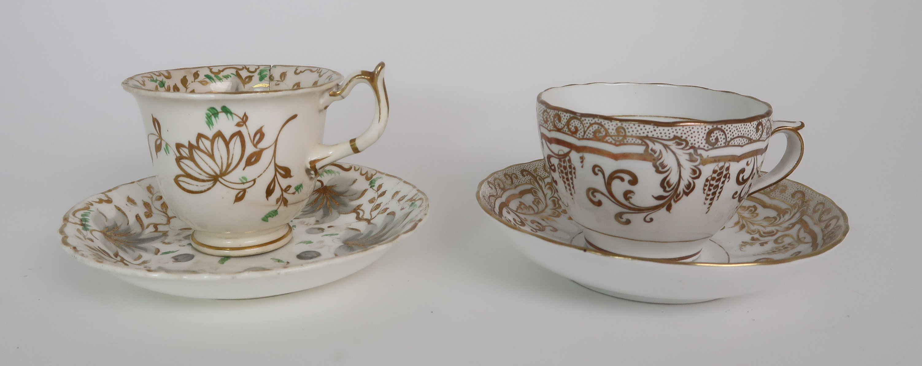 A COLLECTION OF 19TH CENTURY ENGLISH TEA AND COFFEE WARES the white ground with either grey and gilt - Image 12 of 22