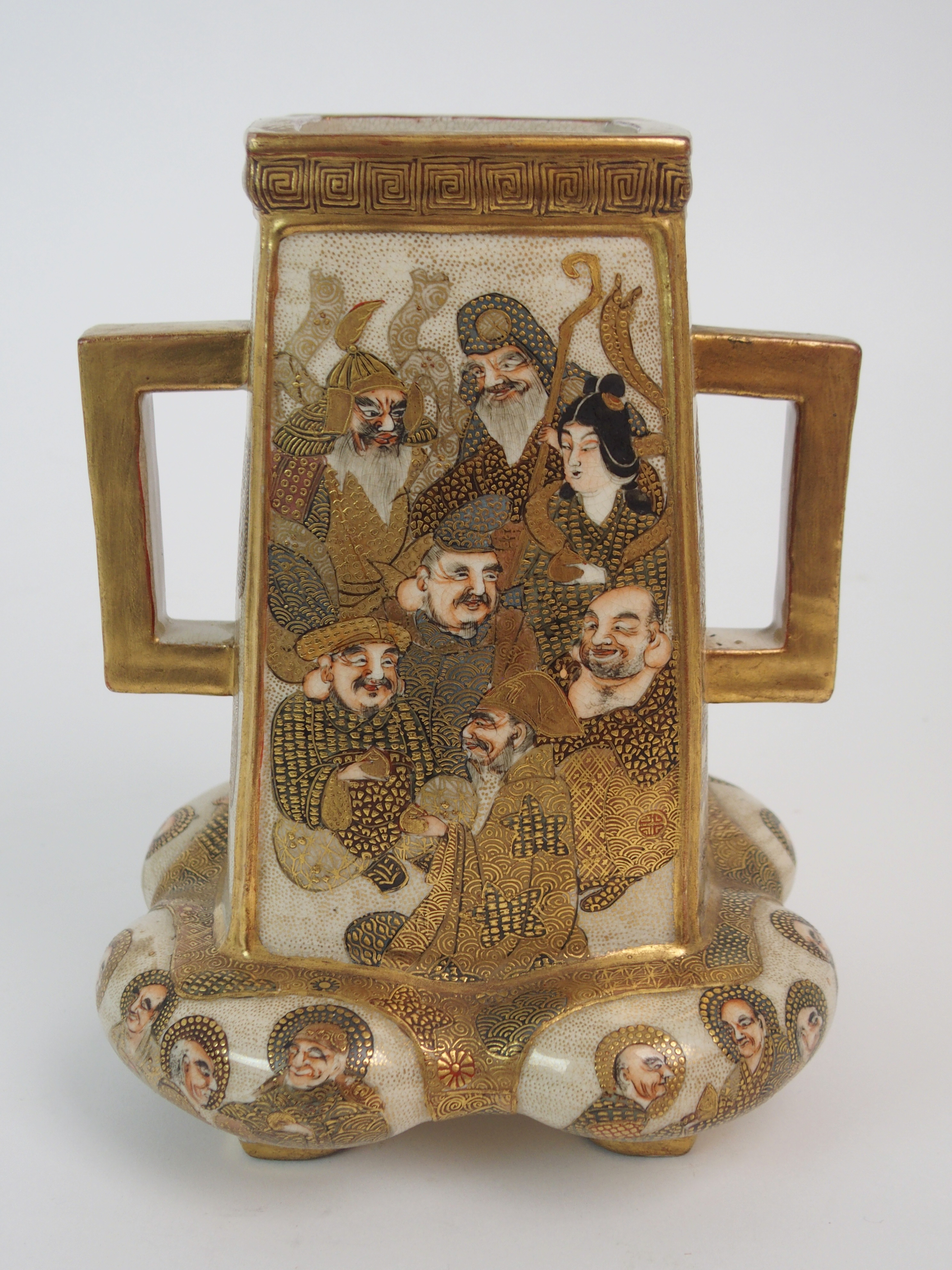 A SATSUMA SQUARE TAPERING TWO HANDLED VASE painted with mythical gods on a gilt ground, beneath - Image 5 of 9