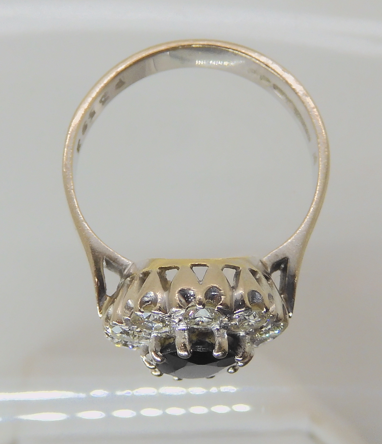 AN 18CT WHITE GOLD SAPPHIRE AND DIAMOND CLUSTER RING set with estimated approx 0.50cts of - Image 7 of 8