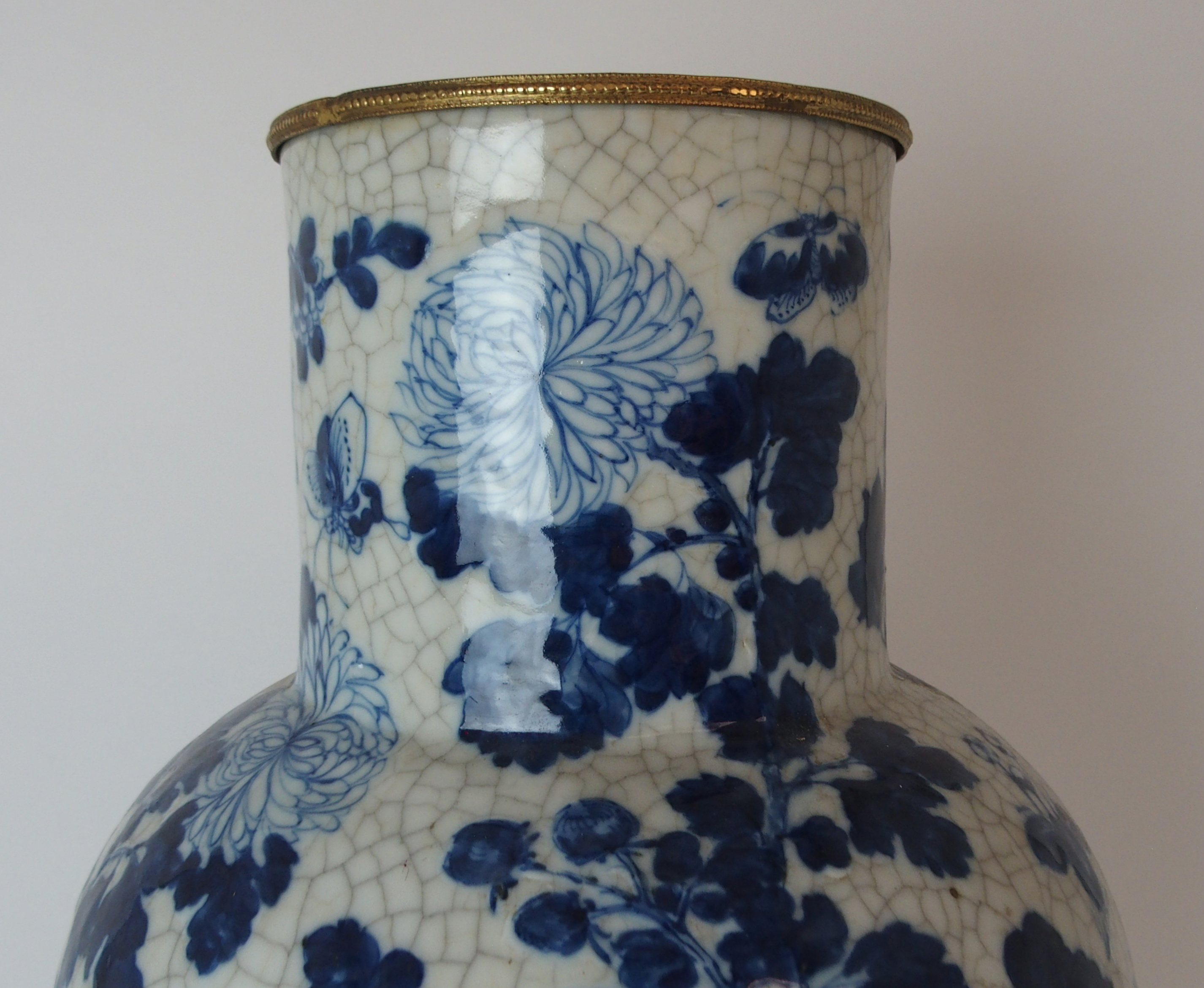 A LARGE CHINESE BLUE AND WHITE MOULDED VASE painted with birds and bats amongst peonies - Image 4 of 11