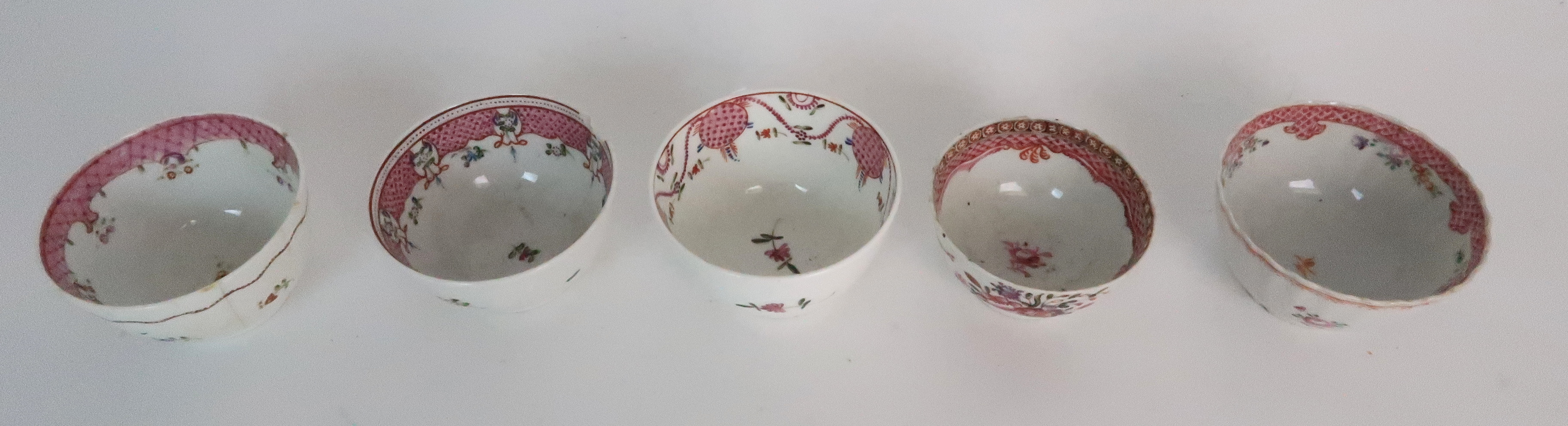 A COLLECTION OF TEA BOWLS AND SAUCERS each with pink scale and floral decoration including New Hall; - Image 8 of 12
