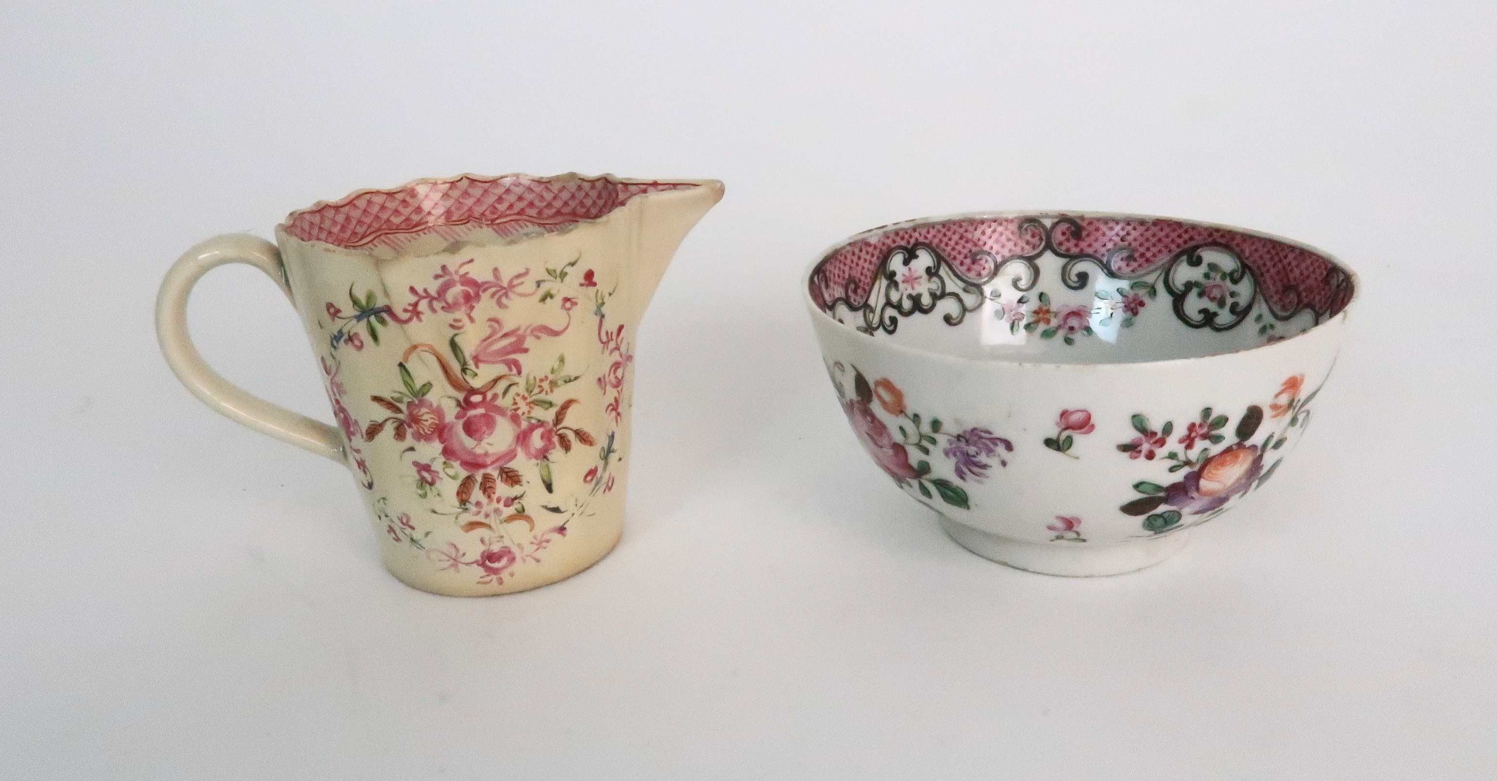 A COLLECTION OF TEA BOWLS AND SAUCERS each with pink scale and floral decoration including New Hall; - Image 12 of 12