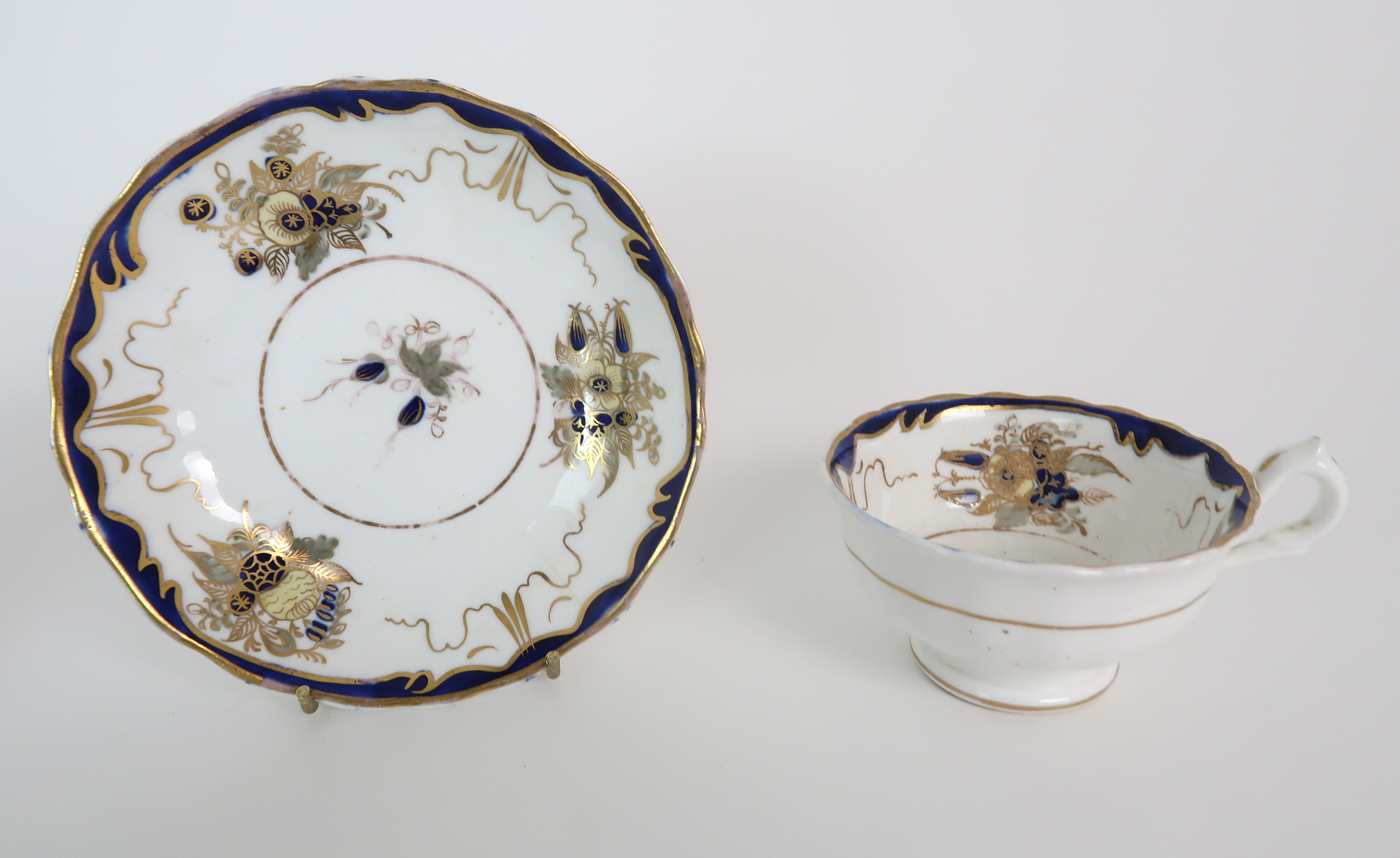 A COLLECTION OF 19TH CENTURY ENGLISH BLUE AND GILT DECORATED TEA AND COFFEE WARES including a - Image 6 of 23