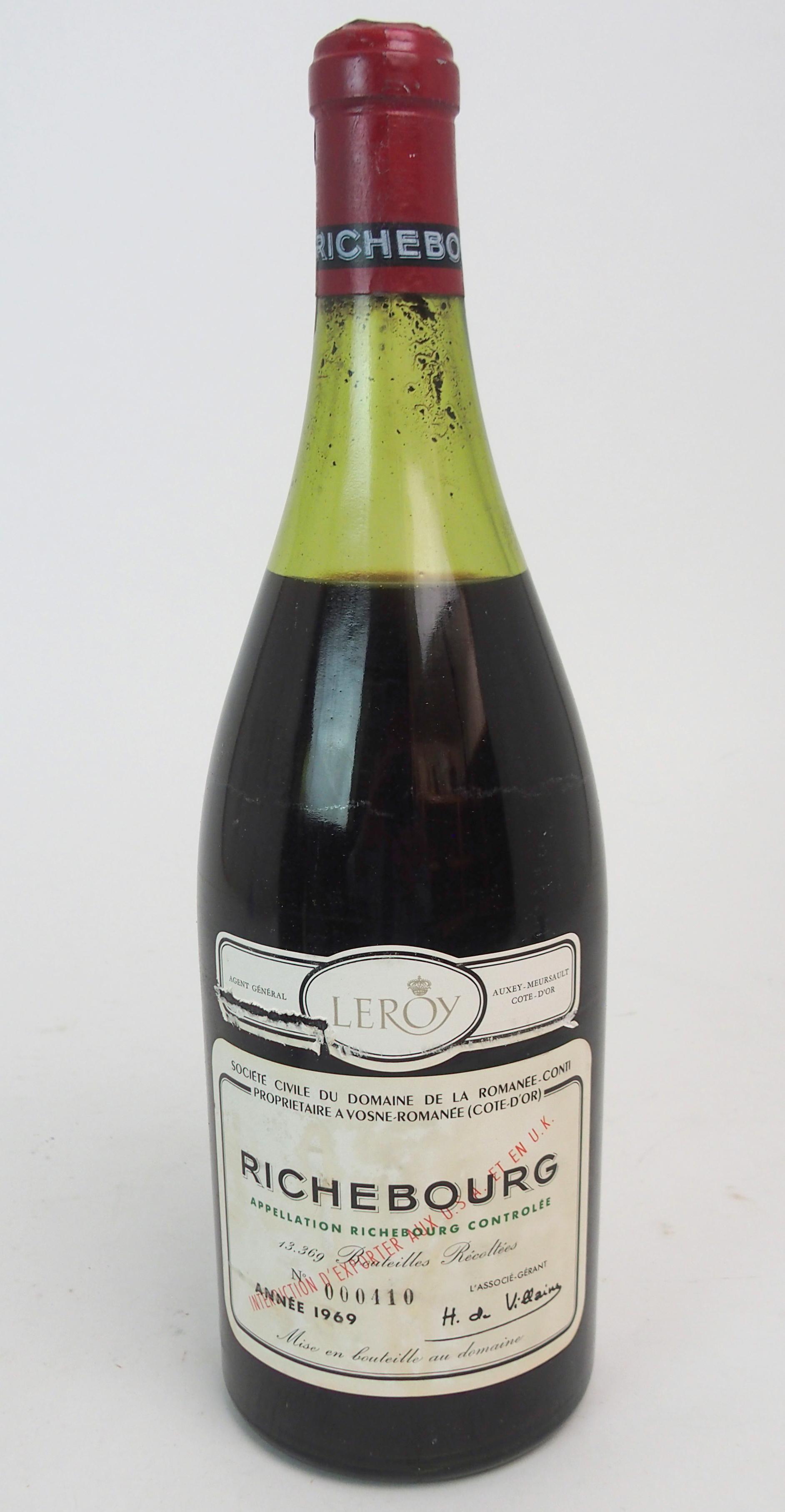 A MAGNUM OF RICHBOURG DOMAINE DE LA ROMANEE-CONTI Bottle No.000410, 1969 Condition Report: Available