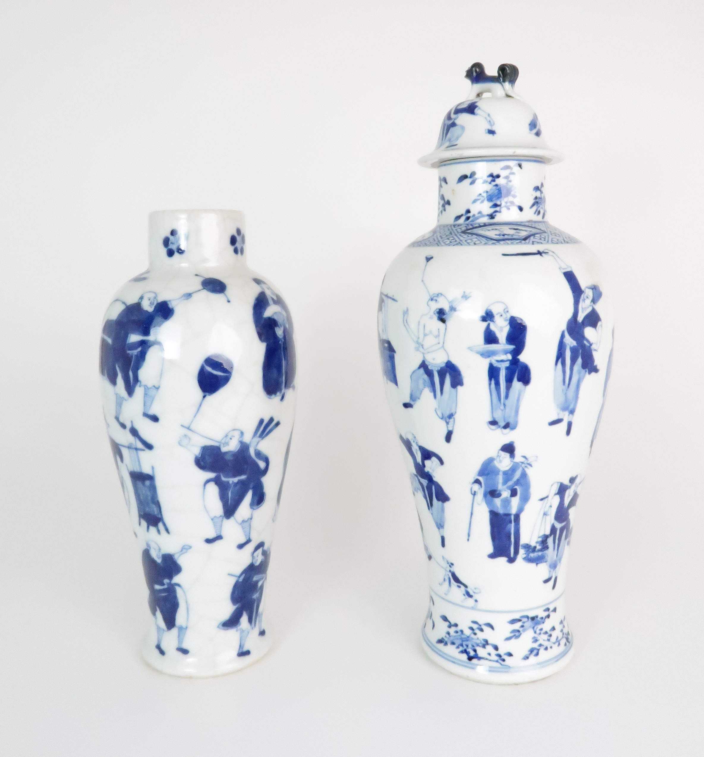 A CHINESE BLUE AND WHITE BALUSTER VASE AND COVER painted with numerous figures within foliate - Image 2 of 19