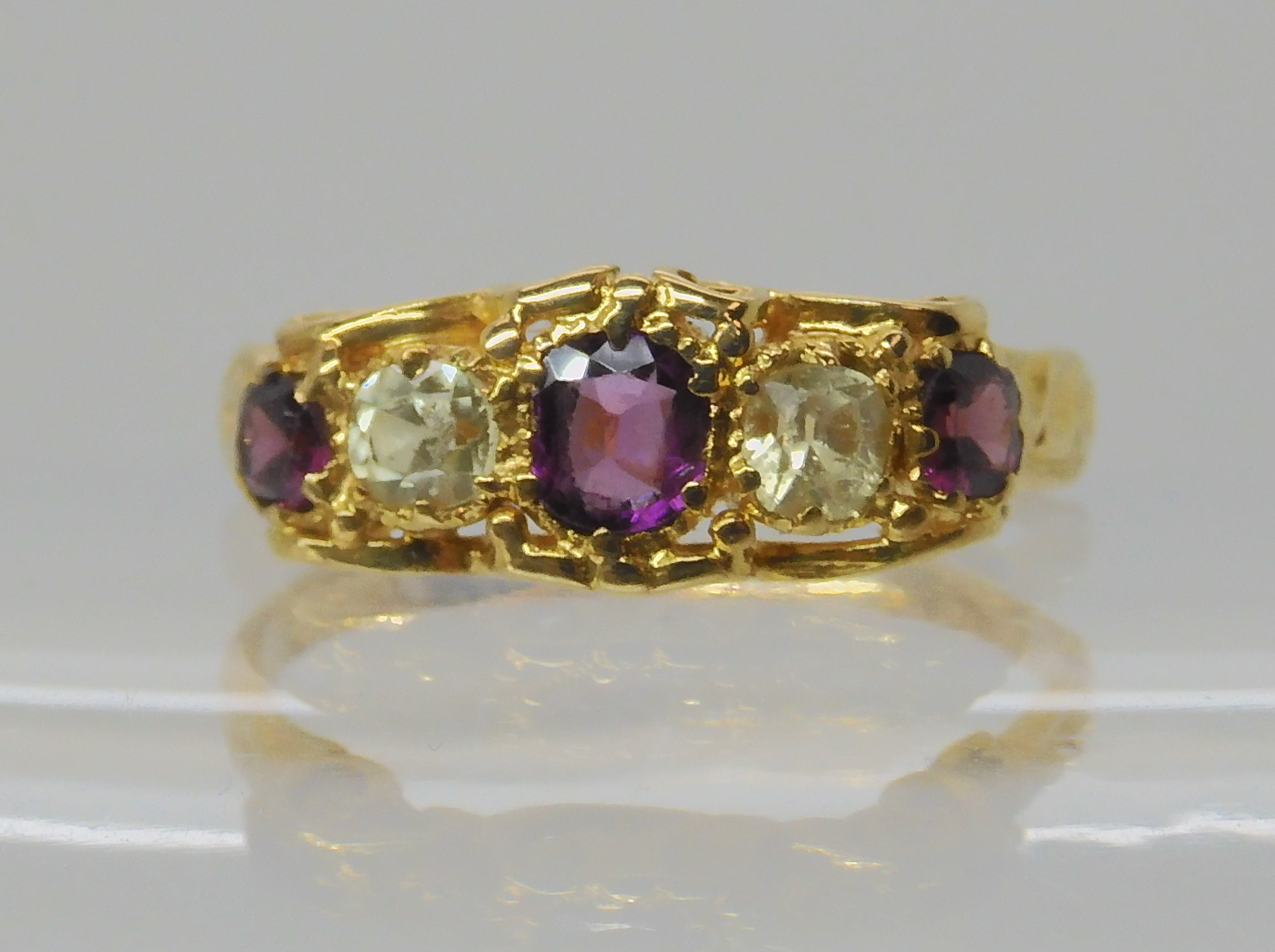 A VICTORIAN GEM SET RING inscribed and dated 1861, set with garnets and pale green gems, finger size - Image 2 of 7