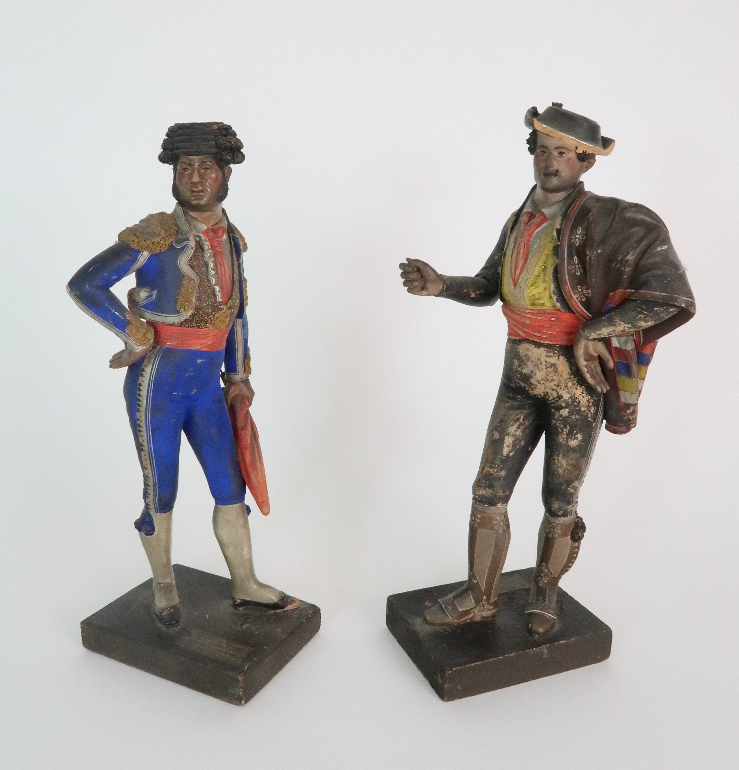 JOSE CUBERO, MALAGA - A PAIR OF MID 19TH CENTURY COLD PAINTED TERRACOTTA FIGURES one a matador,