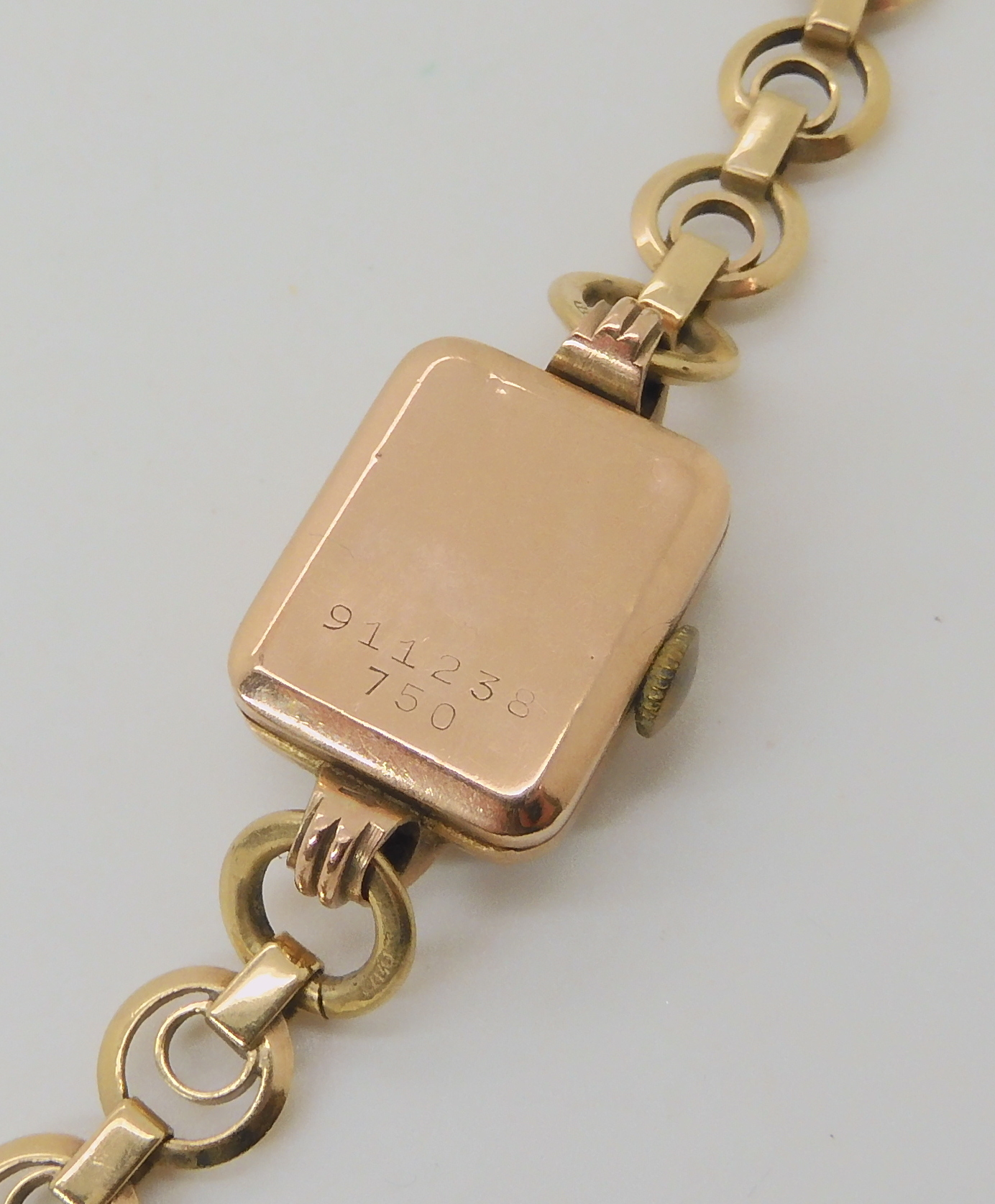 A 9CT GOLD LADIES TUDOR WRISTWATCH the dial signed Tudor Dobbies Ltd Nairobi. with black roman - Image 2 of 3