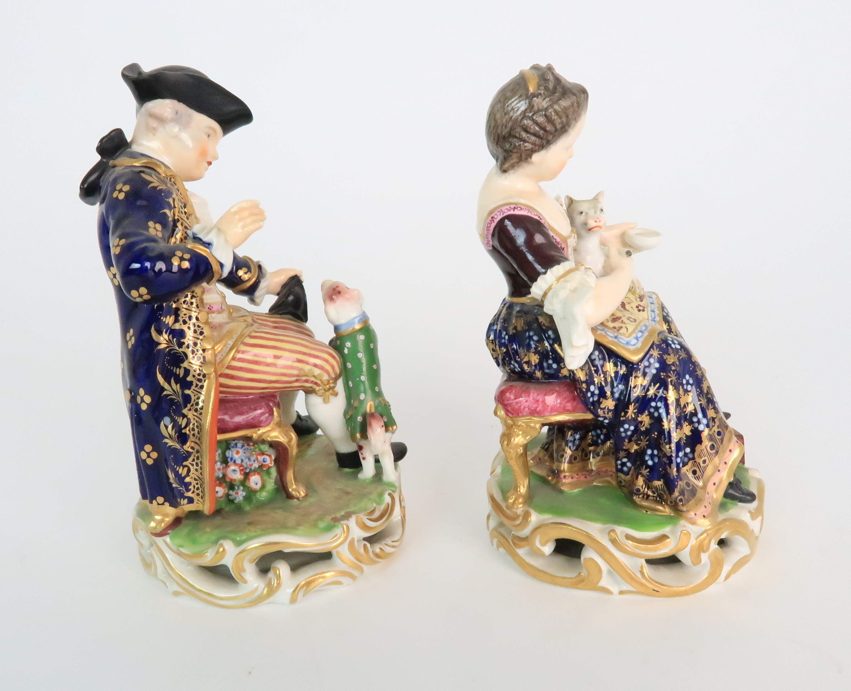 A PAIR OF DERBY PORCELAIN FIGURES early 19th century, modelled as a seated boy playing with a dog - Image 4 of 12