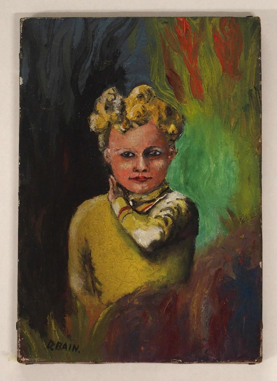 •DONALD BAIN (SCOTTISH 1904-1979) CHILD PORTRAIT oil on canvas, signed, 26 x 18cm Condition