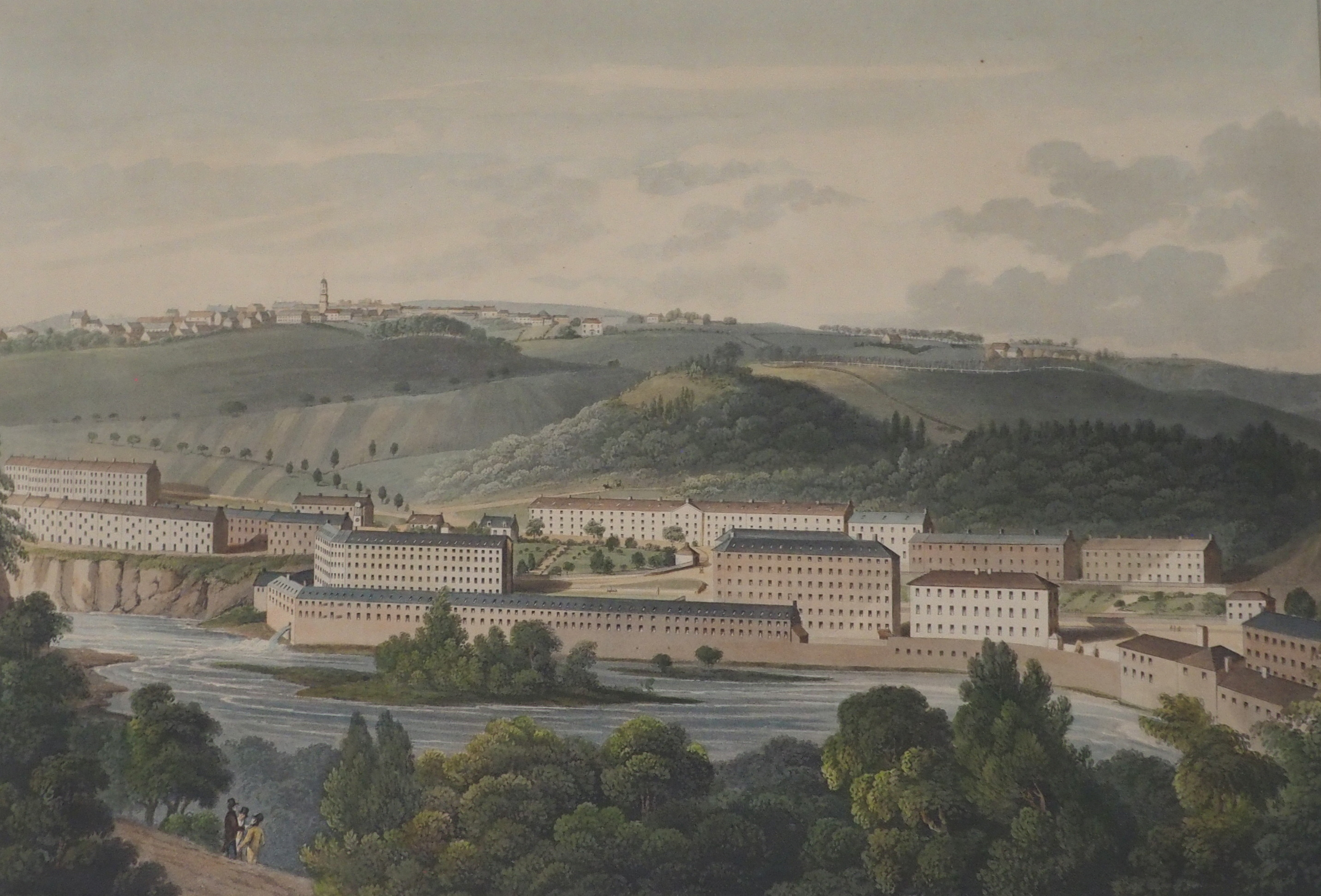 AFTER CLARK THE TOWN OF LANARK aquatint, 46 x 59cm, A View of New Lanark from the South, 14 x