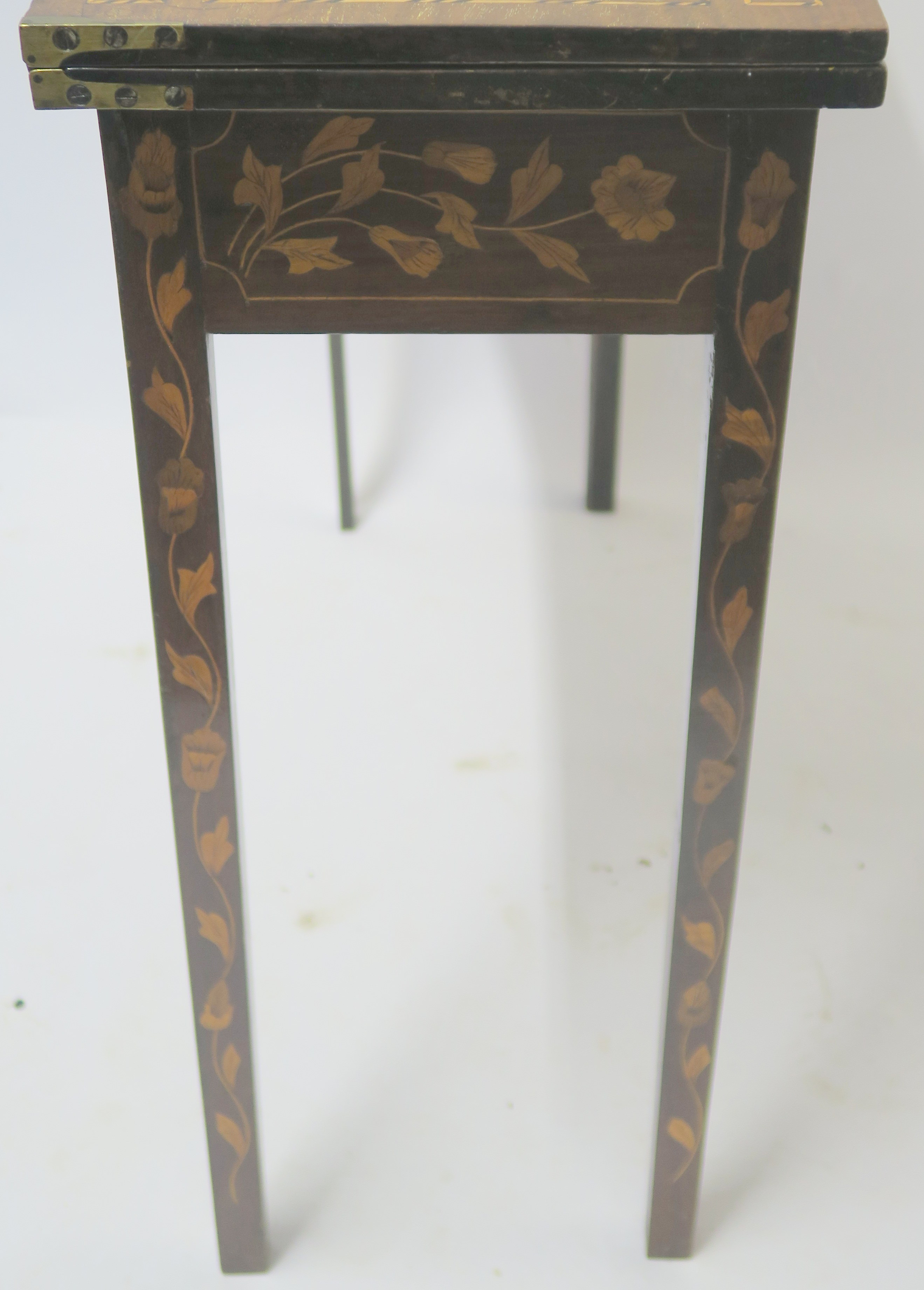 A DUTCH MARQUETRY WALNUT GAMES TABLE decorated with a basket of flowers, birds and scrolling - Image 7 of 11