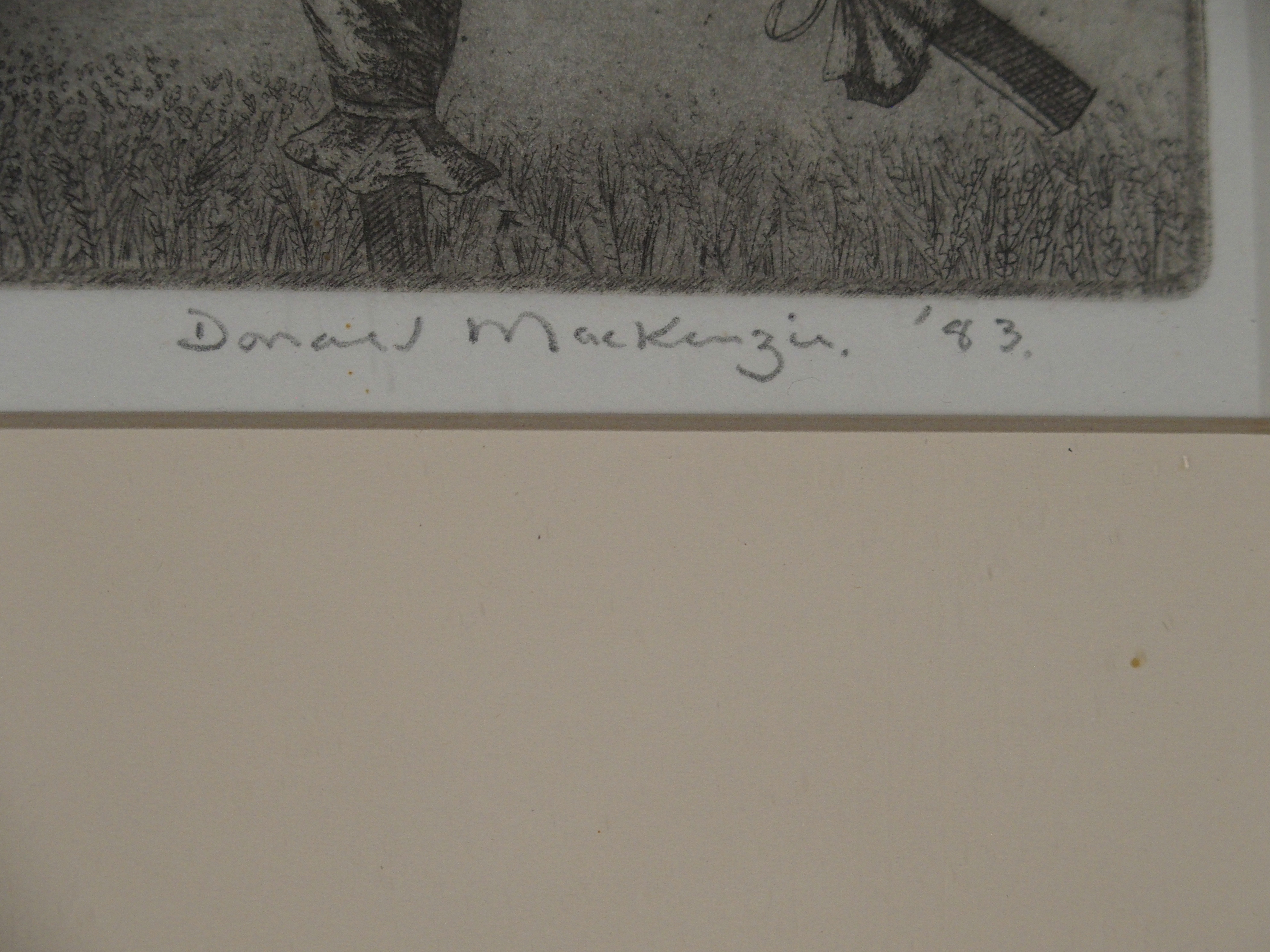 •DUNCAN MACKENZIE (SCOTTISH CONTEMPORARY) DANCING SCARECROWS etching, signed, inscribed and - Image 4 of 7
