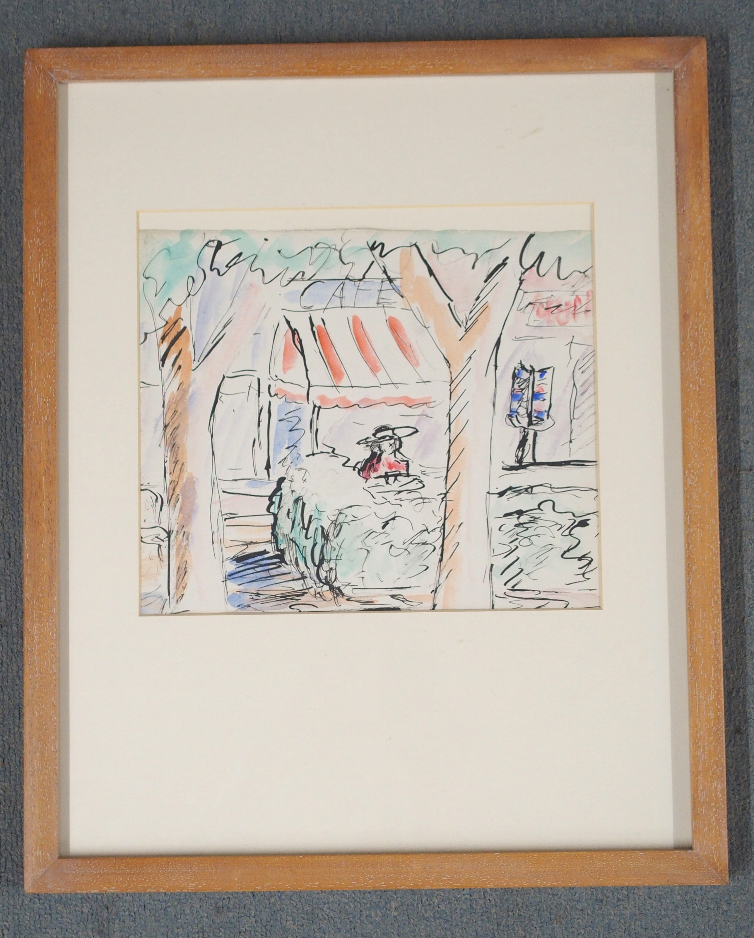 •DONALD BAIN (SCOTTISH 1904-1979) THE CAFE, ST. PAUL DE VENCE Ink and watercolour on paper, 25 x - Image 2 of 3