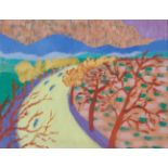 •DONALD BAIN (SCOTTISH 1904-1979) THE LOCH ROAD oil on canvas board, signed and signed, inscribed