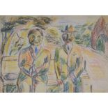 •DONALD BAIN (SCOTTISH 1904-1979) TWO MEN IN SUITS SITTING ON A BENCH Coloured wax crayon, 28 x 38cm