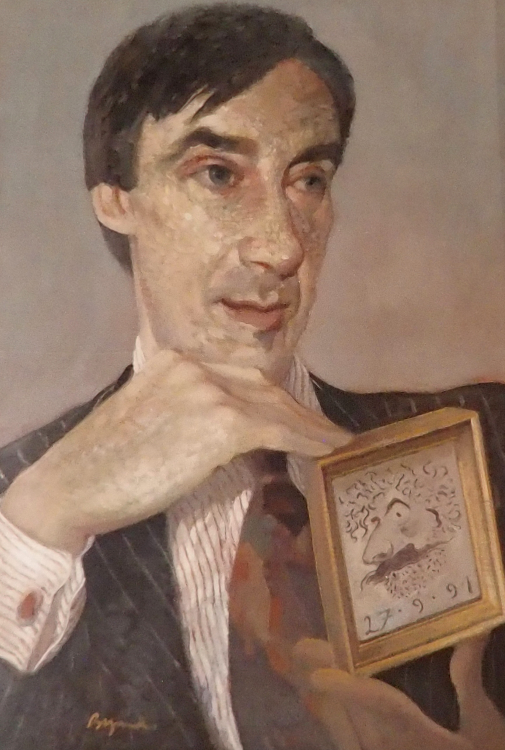 •JOHN BYRNE RSA (SCOTTISH B.1940) PORTRAIT OF WILLIAM HARDIE oil on canvas, signed and dated 27.9.