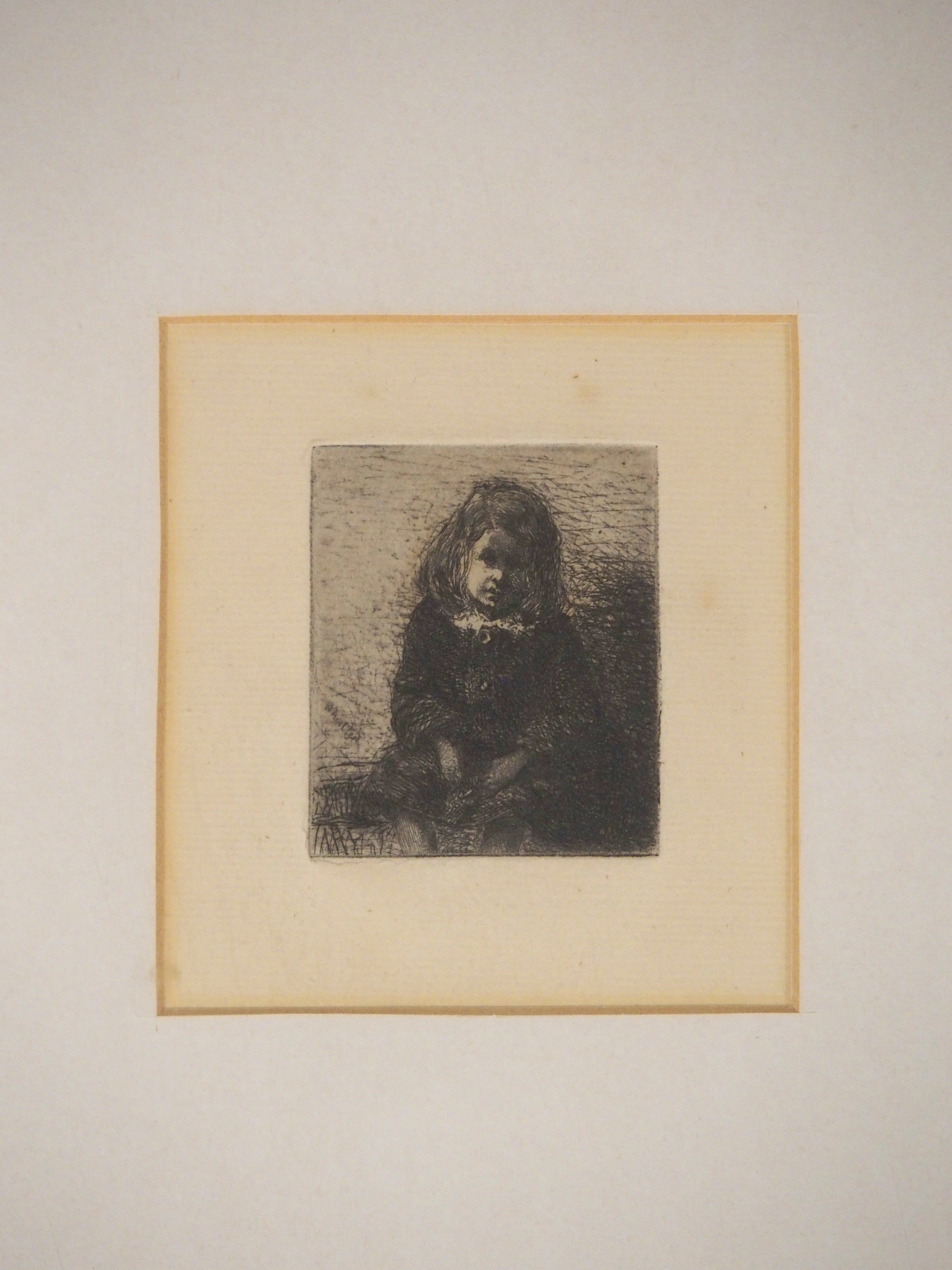 JAMES ABBOTT MCNEILL WHISTLER RBA (AMERICAN 1834-1903) GIRL SEATED etching, 6 x 5cm Condition - Image 2 of 3