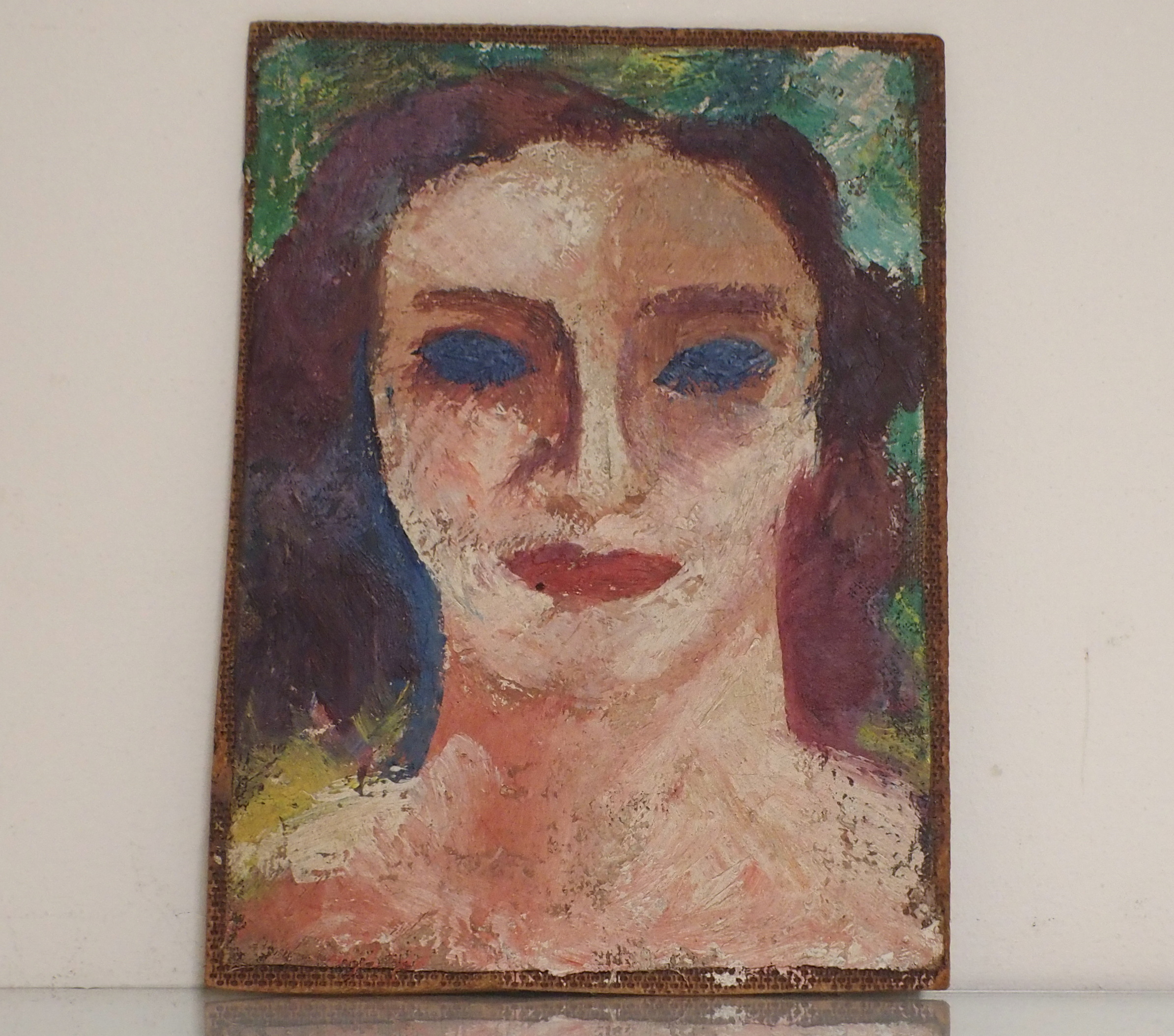 •DONALD BAIN (SCOTTISH 1904-1979) HEAD STUDY oil on canvas laid on panel board, 19.5 x 14cm signed - Image 2 of 5